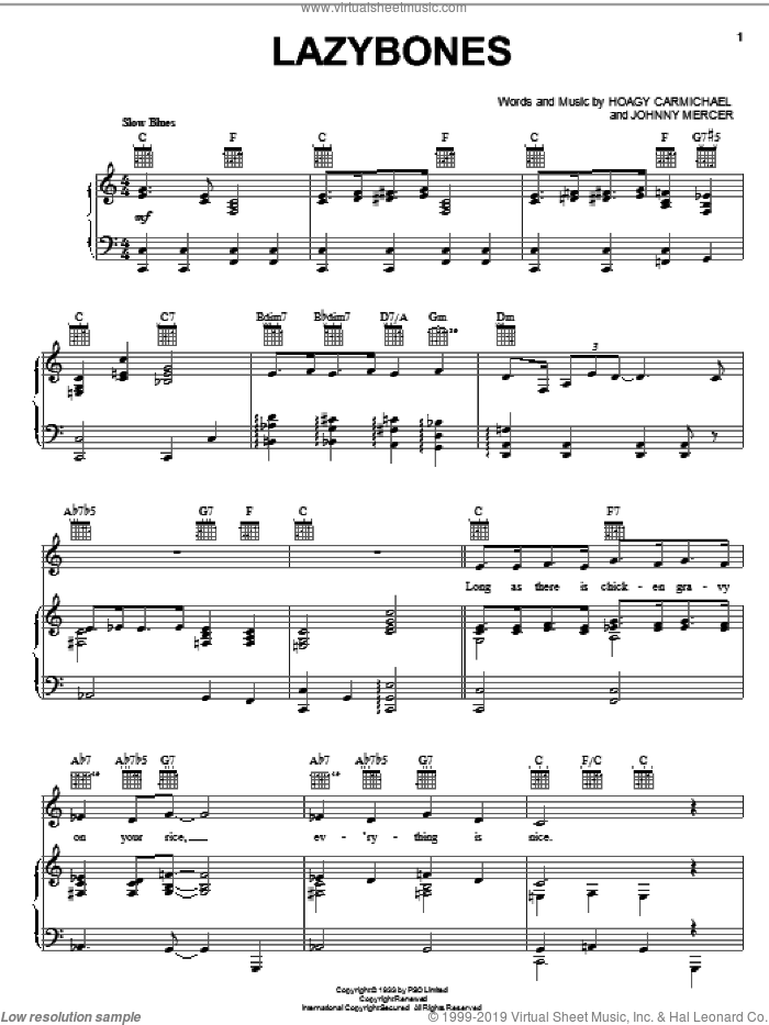 Lazybones sheet music for voice, piano or guitar by Hoagy Carmichael, Louis Armstrong, Paul Robeson and Johnny Mercer, intermediate skill level