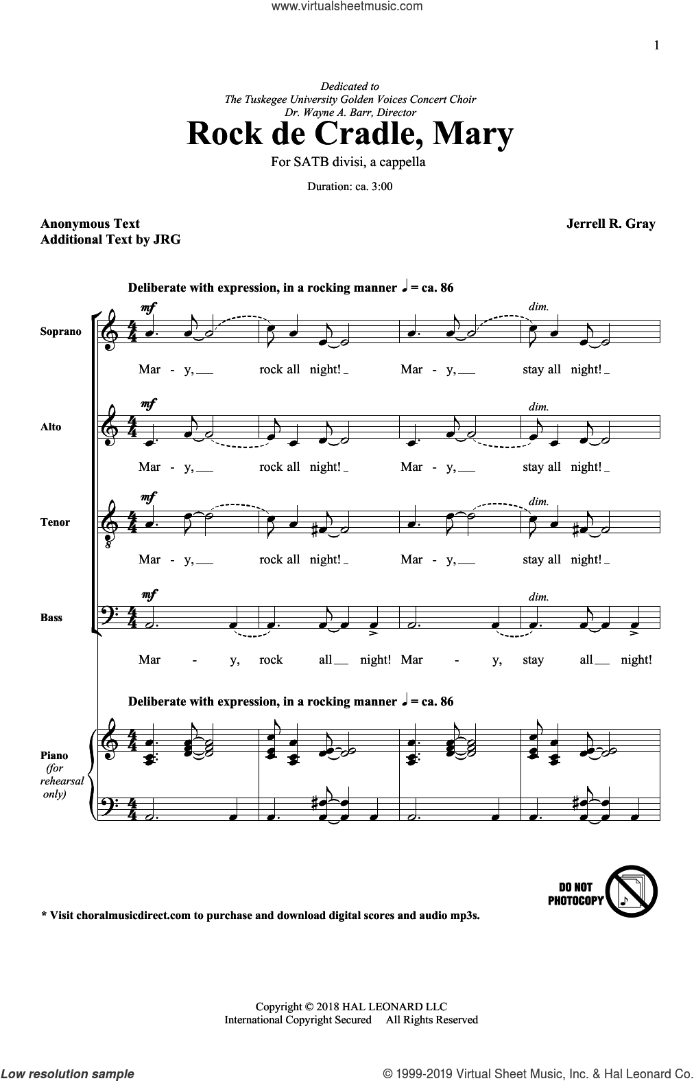 Rock De Cradle Mary sheet music for choir (SATB: soprano, alto, tenor, bass) by Jerrell Gray and Miscellaneous, intermediate skill level