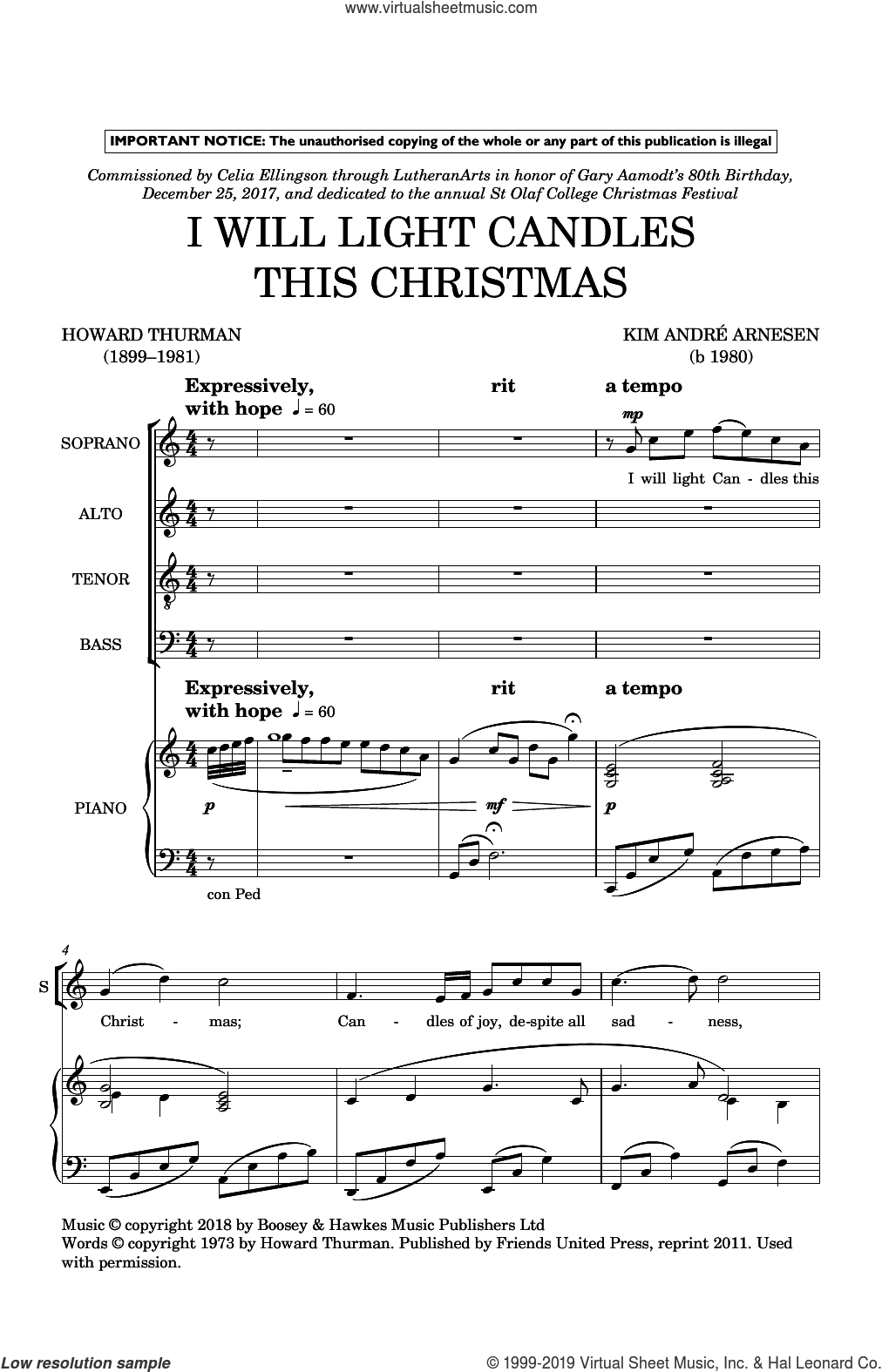 I Will Light Candles This Christmas sheet music for choir (SATB: soprano, alto, tenor, bass) by Kim Andre Arnesen and Howard Thurman, intermediate skill level