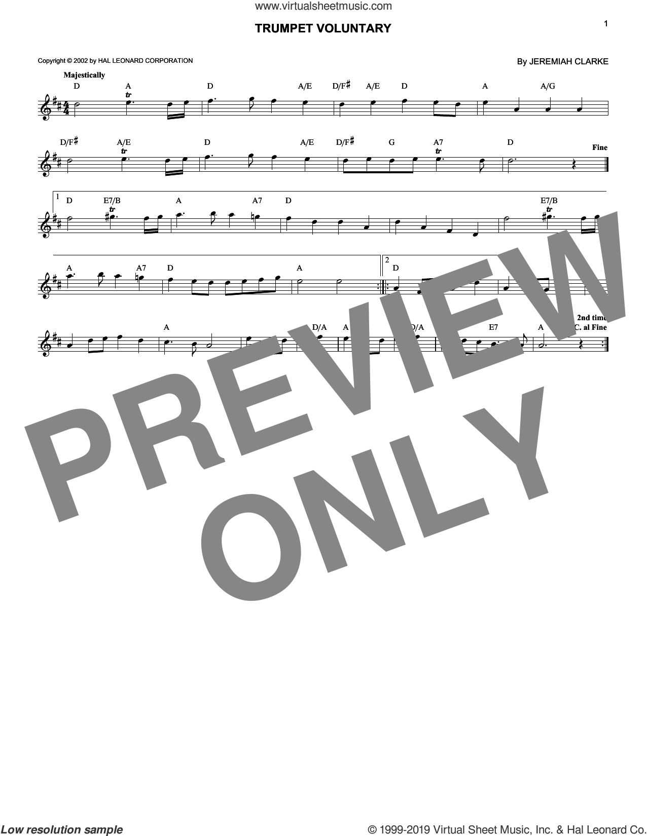 Trumpet Voluntary sheet music for voice and other instruments (fake book) by Jeremiah Clarke, classical wedding score, intermediate skill level