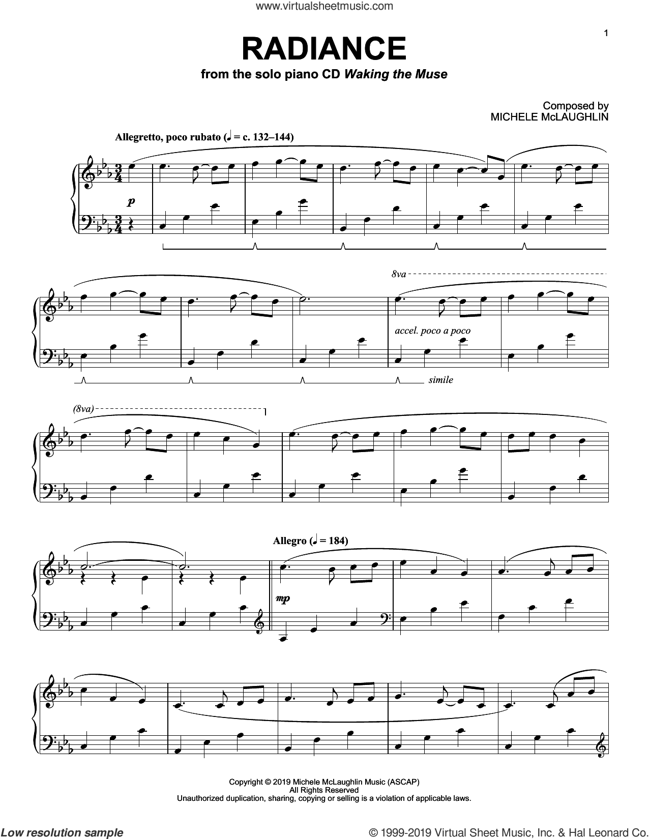 Radiance sheet music for piano solo by Michele McLaughlin, intermediate skill level