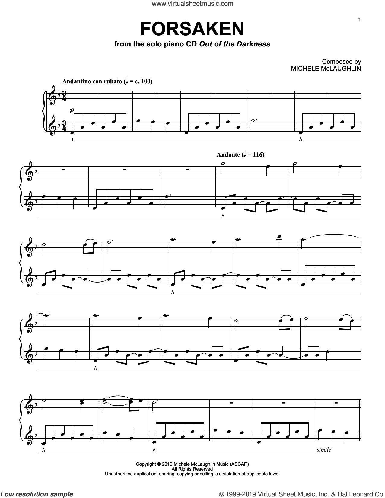 Forsaken sheet music for piano solo by Michele McLaughlin, intermediate skill level