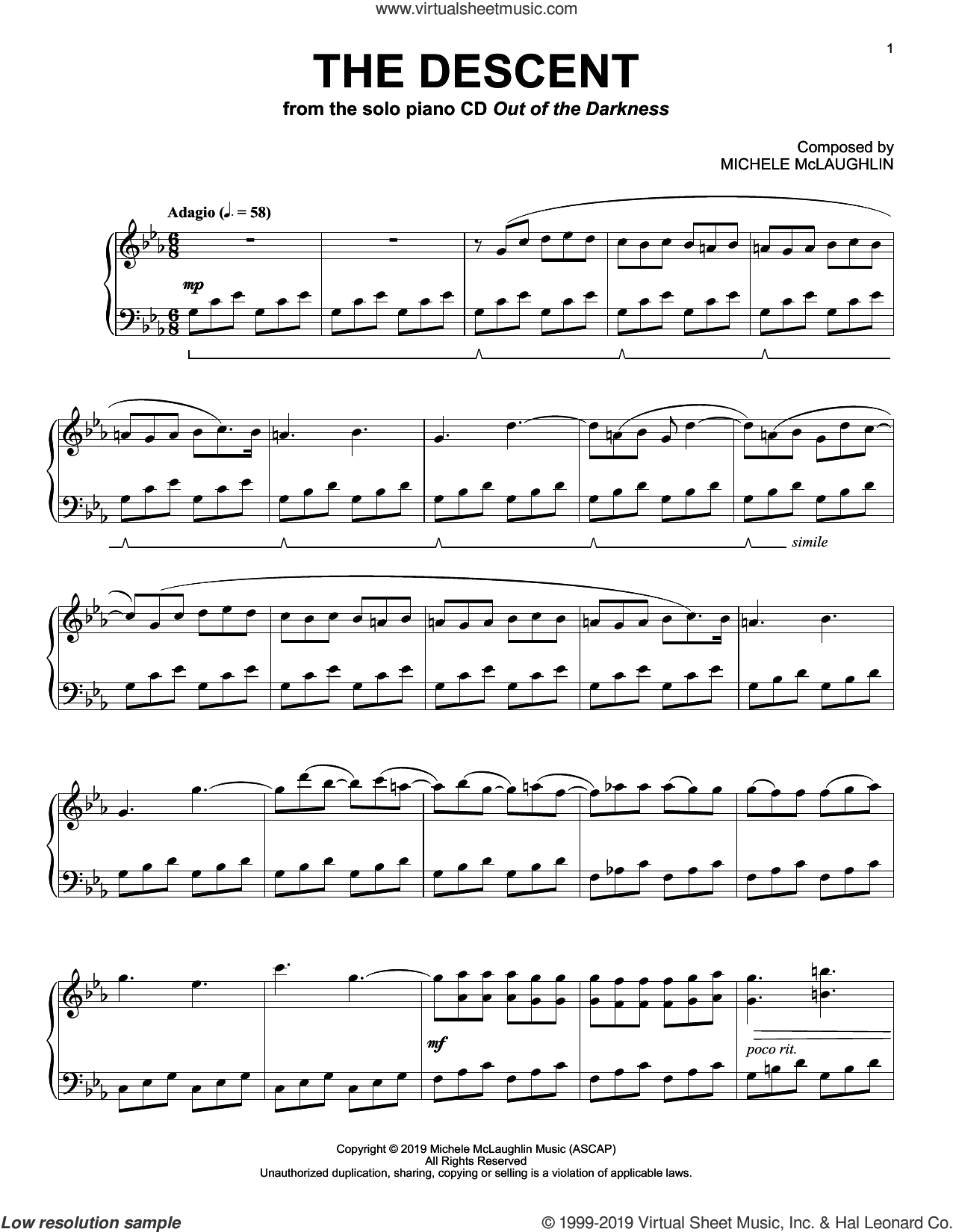 The Descent sheet music for piano solo by Michele McLaughlin, intermediate skill level