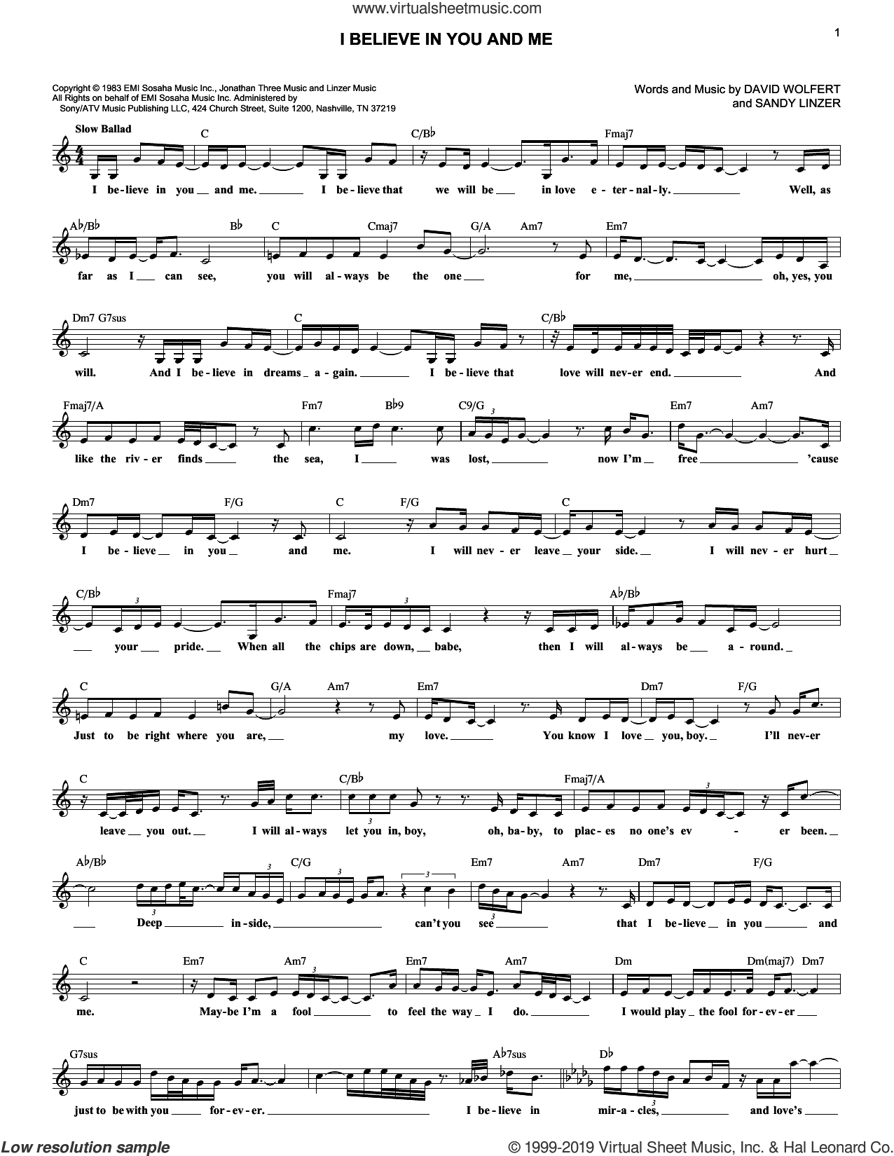 I Believe In You And Me sheet music for voice and other instruments (fake book) by The Four Tops, Whitney Houston, David Wolfert and Sandy Linzer, intermediate skill level