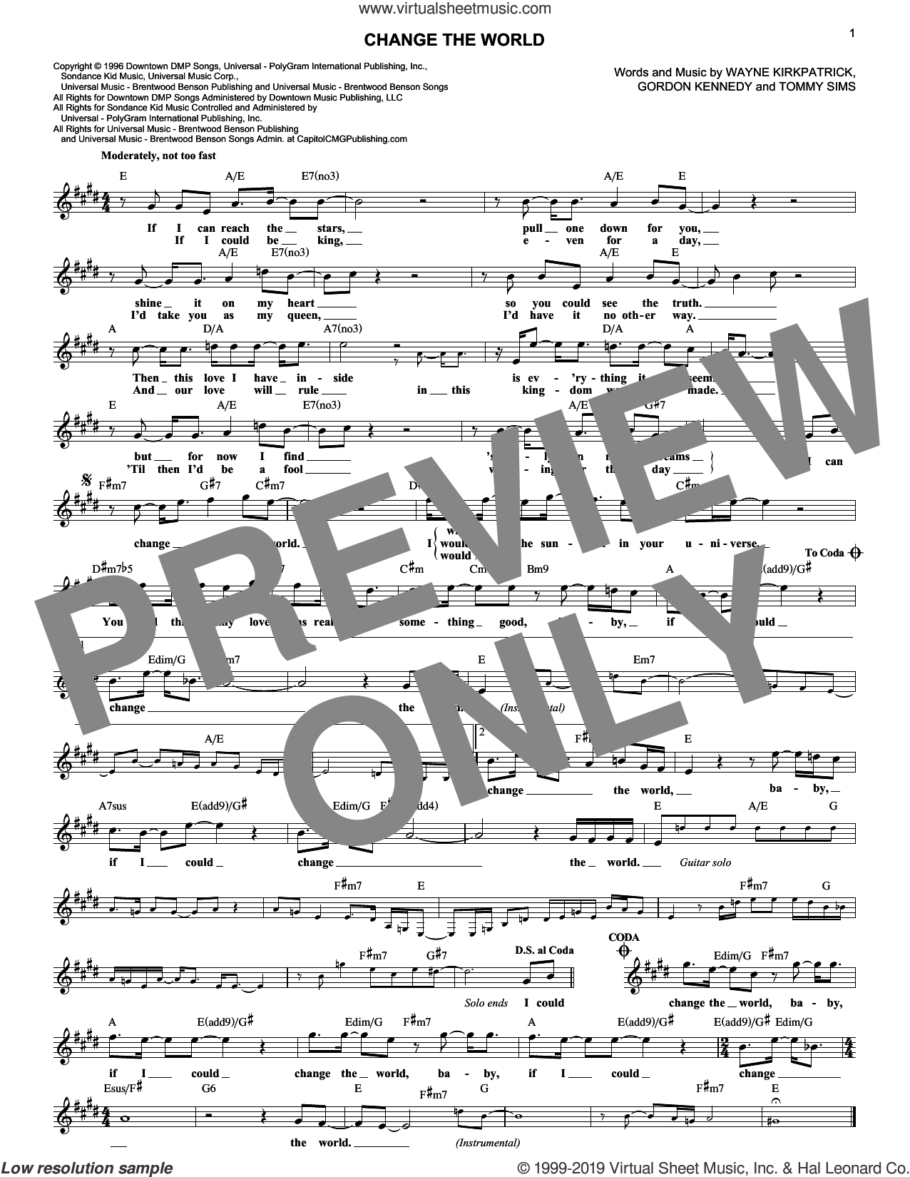 Change The World sheet music for voice and other instruments (fake book) by Eric Clapton, Wynonna, Gordon Kennedy, Tommy Sims and Wayne Kirkpatrick, intermediate skill level