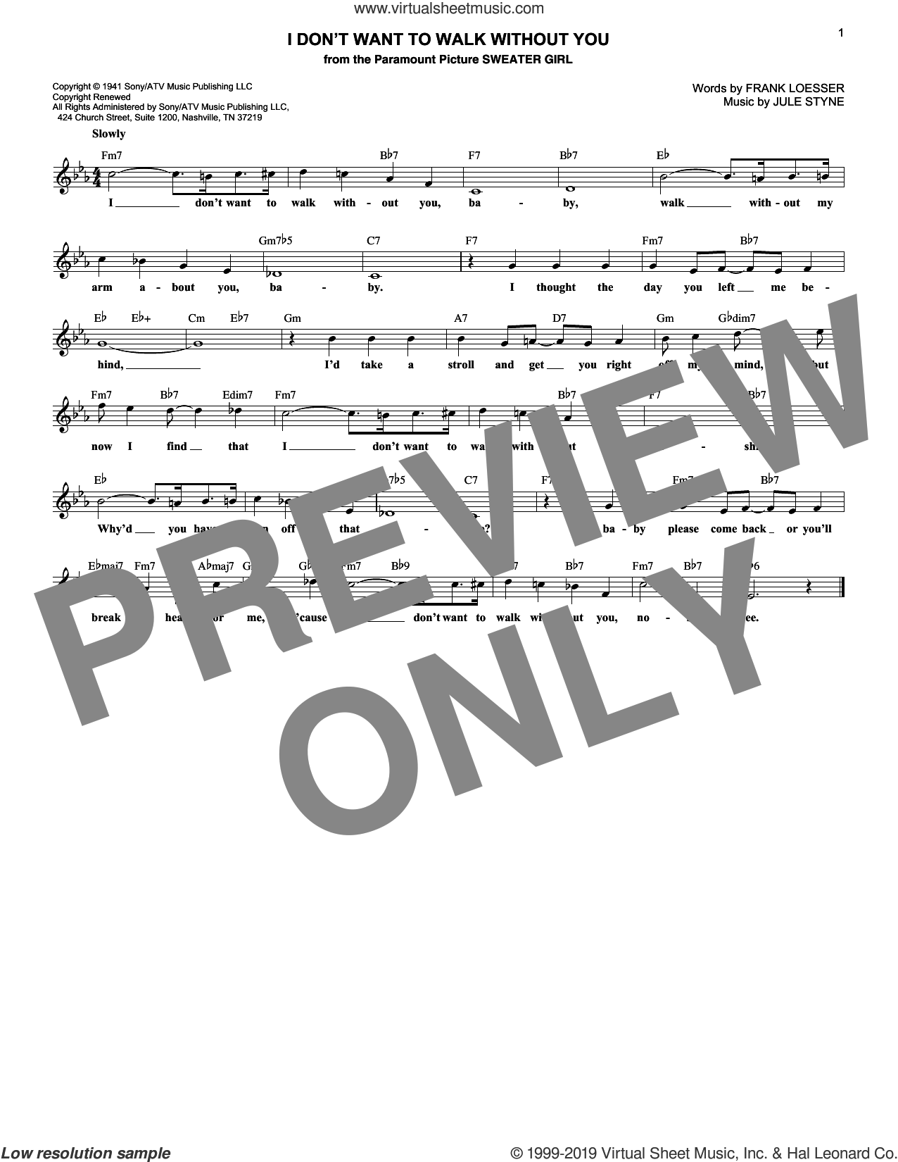 I Don't Want To Walk Without You sheet music for voice and other instruments (fake book) by Jule Styne and Frank Loesser, intermediate skill level