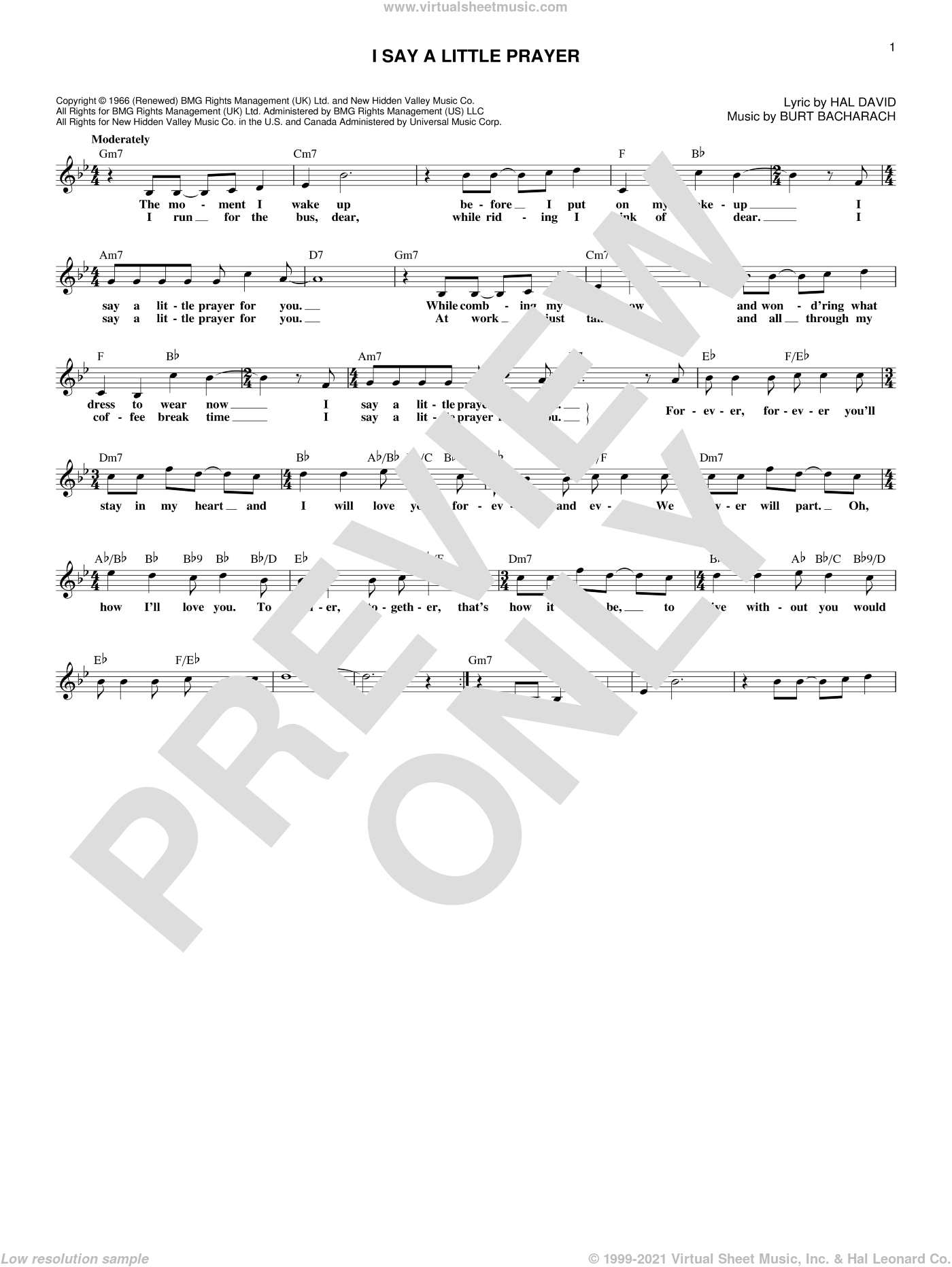 I Say A Little Prayer sheet music for voice and other instruments (fake book) by Burt Bacharach, Diana King, Dionne Warwick and Hal David, intermediate skill level