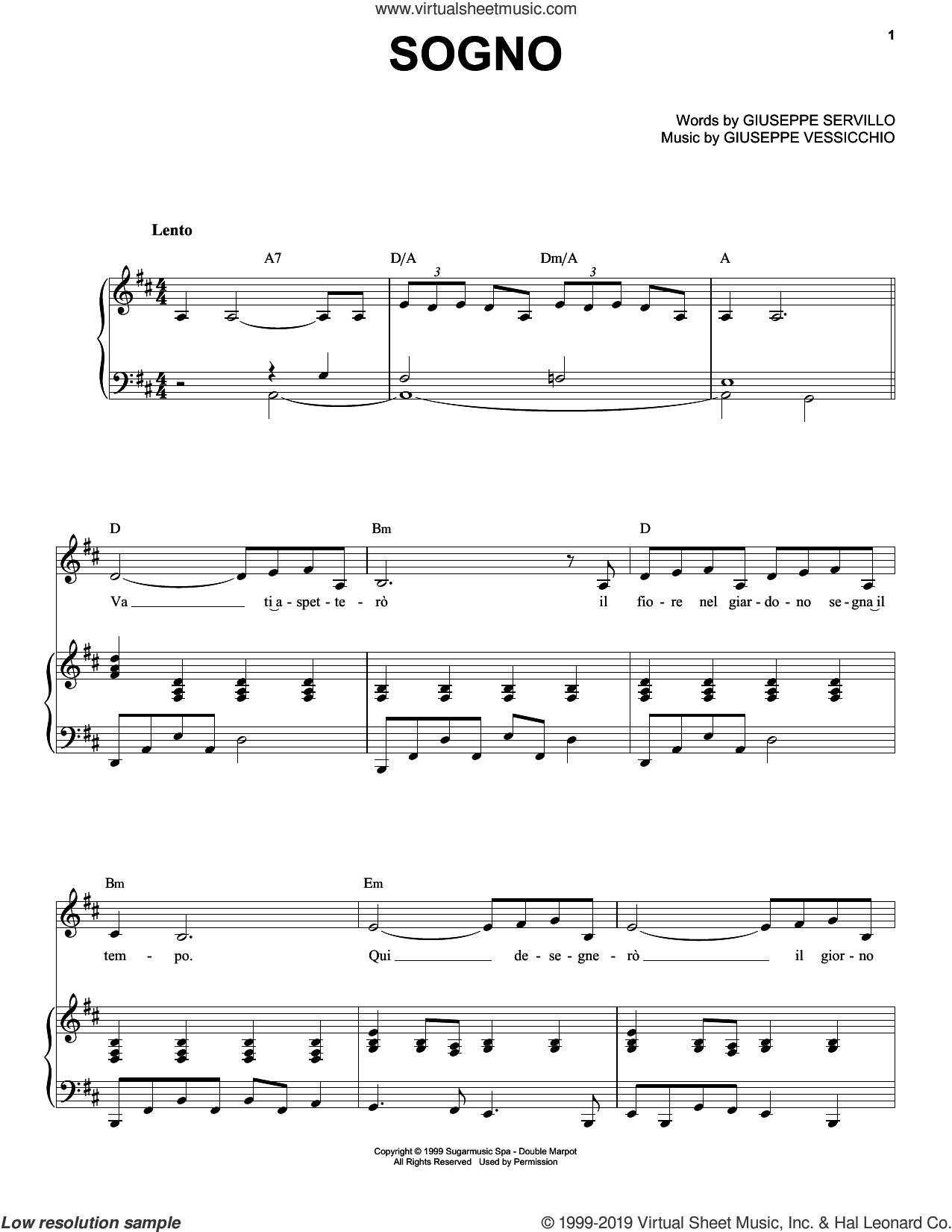 Sogno sheet music for voice and piano by Andrea Bocelli, Giuseppe Servillo and Giuseppe Vessicchio, classical score, intermediate skill level