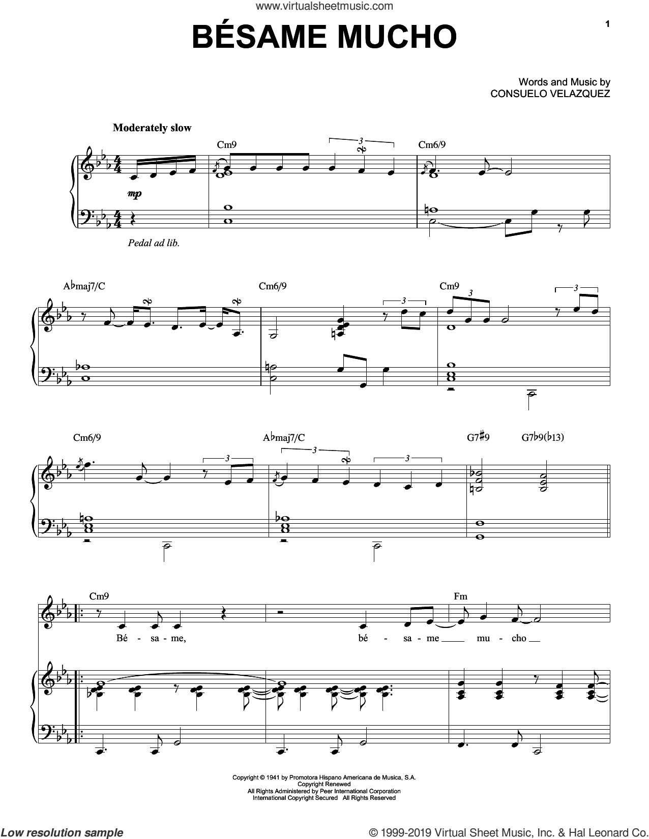 Besame Mucho (Kiss Me Much) sheet music for voice and piano by Andrea Bocelli and Consuelo Velazquez, intermediate skill level
