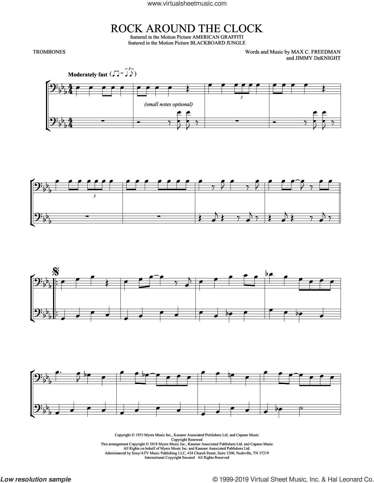 Rock Around The Clock sheet music for two trombones (duet, duets) by Bill Haley & His Comets, Jimmy DeKnight and Max C. Freedman, intermediate skill level