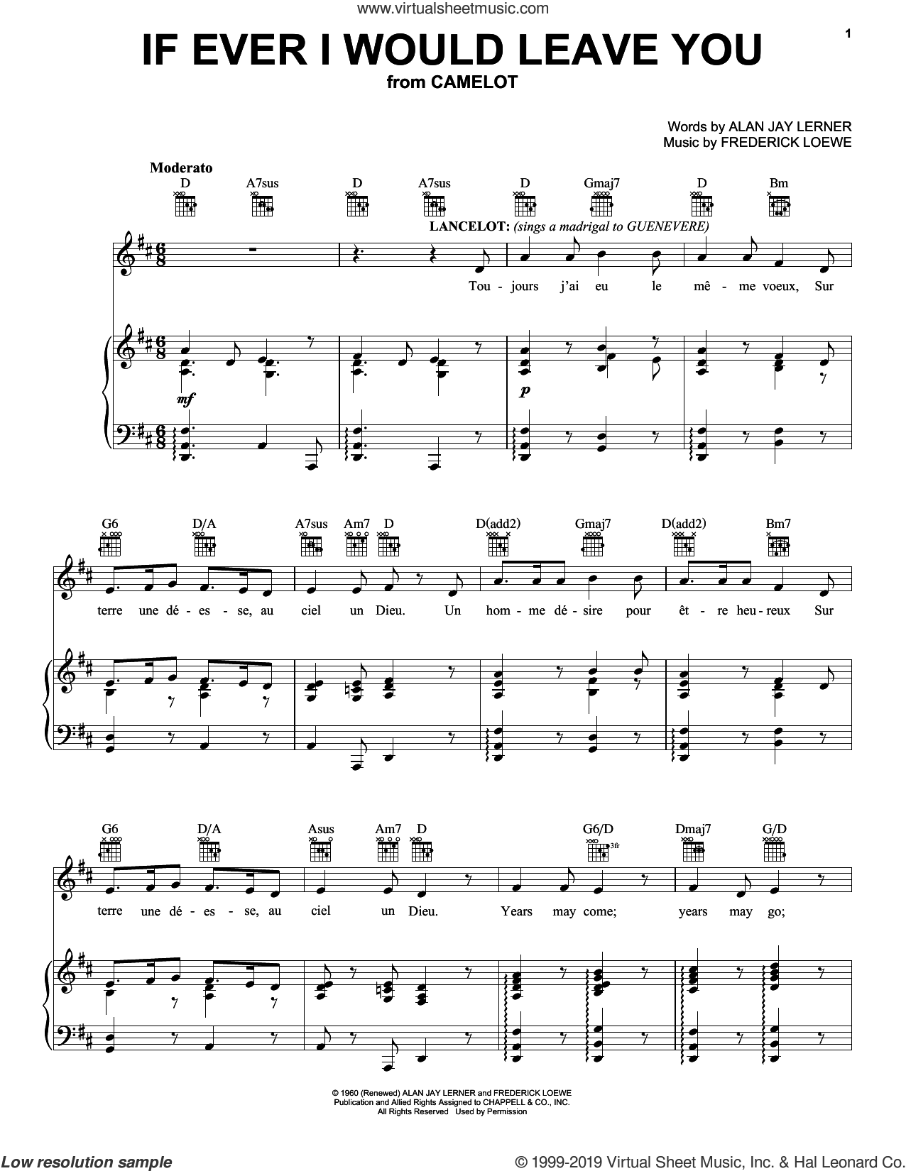 If Ever I Would Leave You sheet music for voice, piano or guitar by Alan Jay Lerner and Frederick Loewe, intermediate skill level