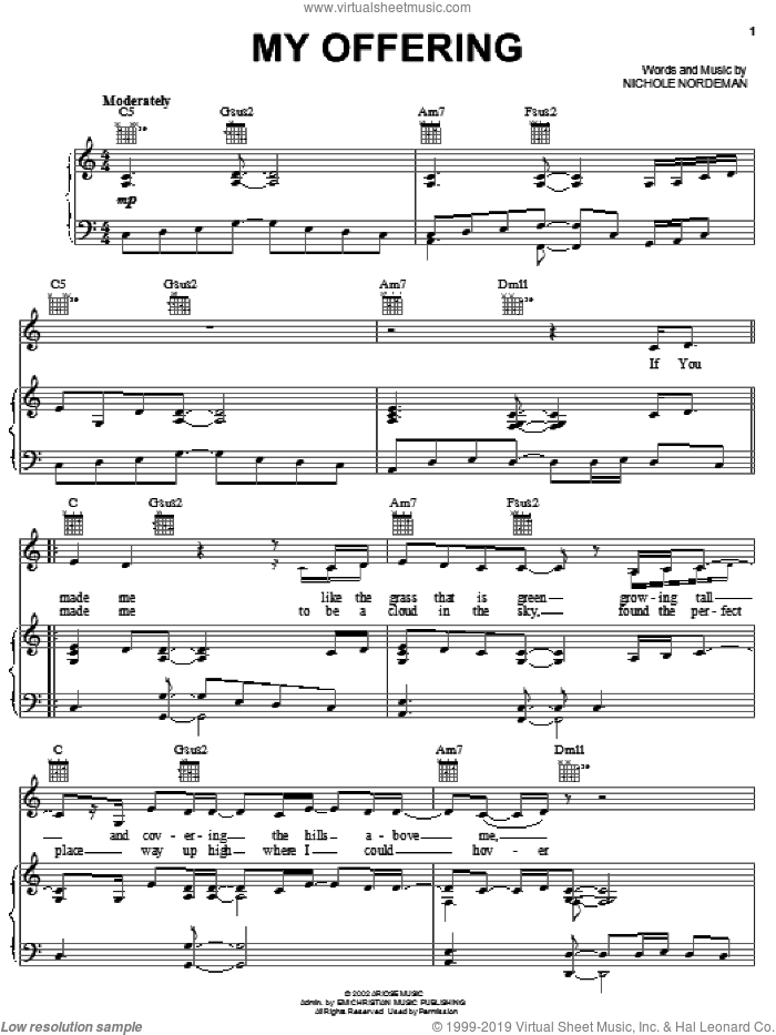 My Offering sheet music for voice, piano or guitar by Nichole Nordeman, intermediate skill level