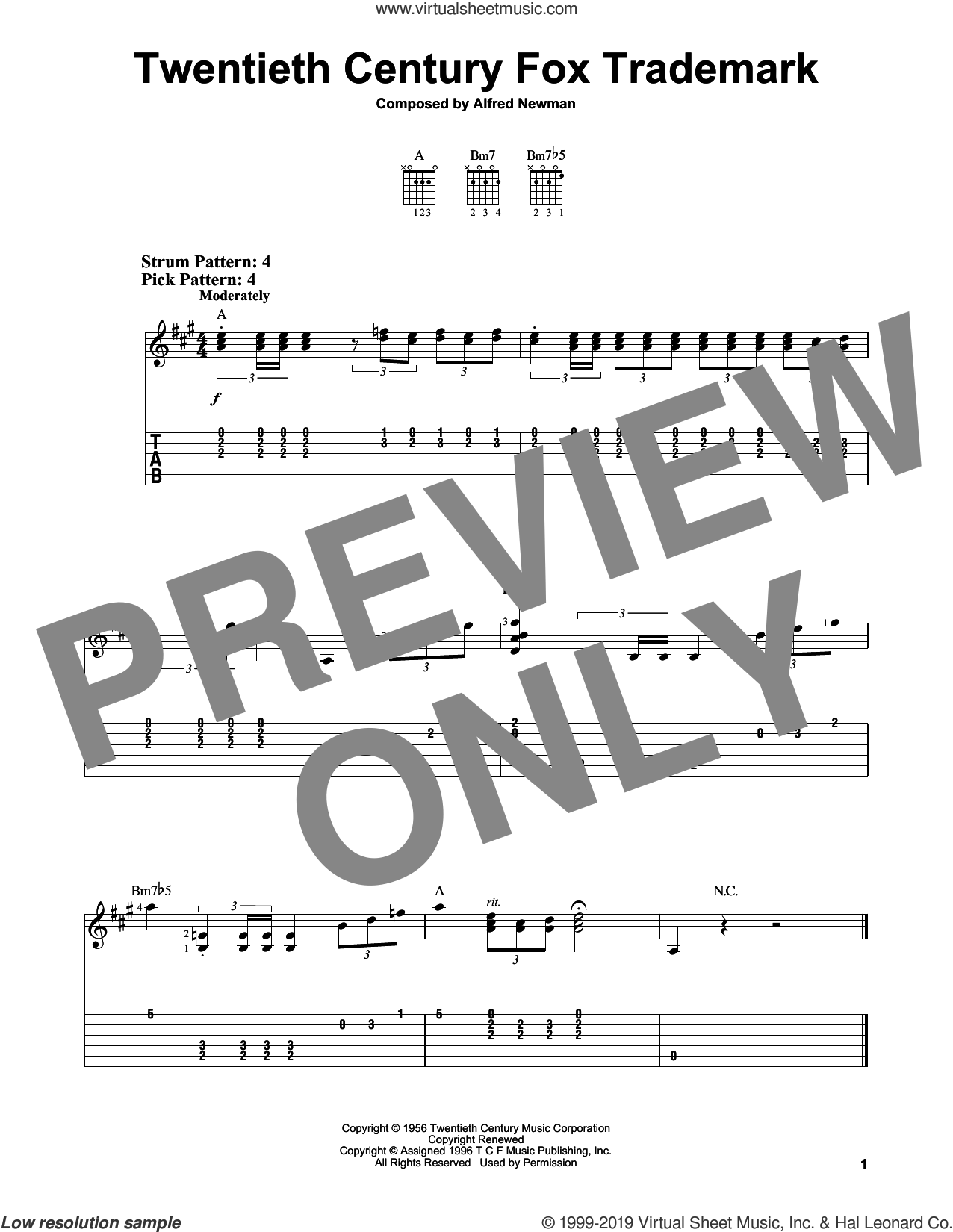 Twentieth Century Fox Trademark sheet music for guitar solo (easy tablature) by Queen and Alfred Newman, easy guitar (easy tablature)
