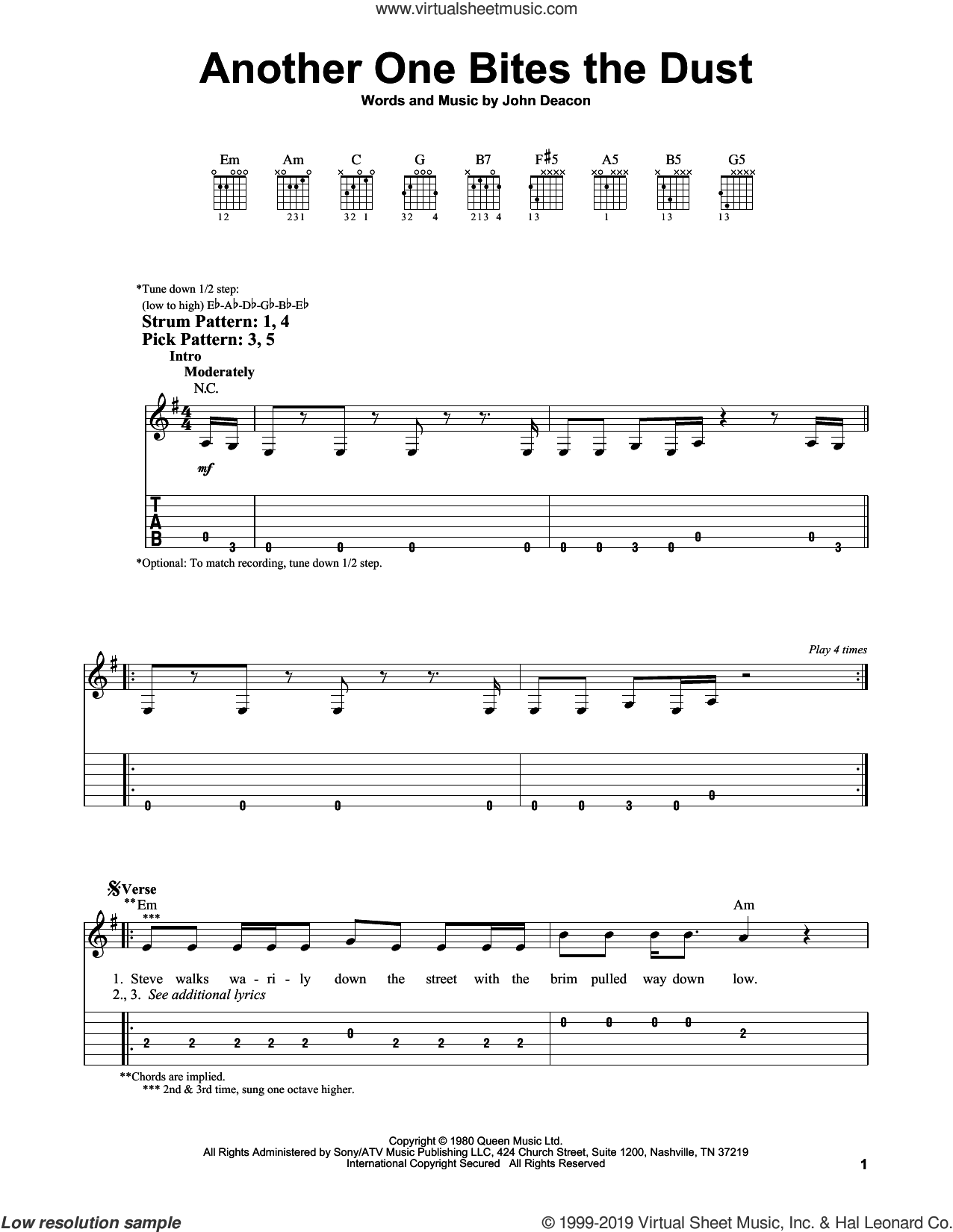 Another One Bites The Dust sheet music for guitar solo (easy tablature) by Queen and John Deacon, easy guitar (easy tablature)