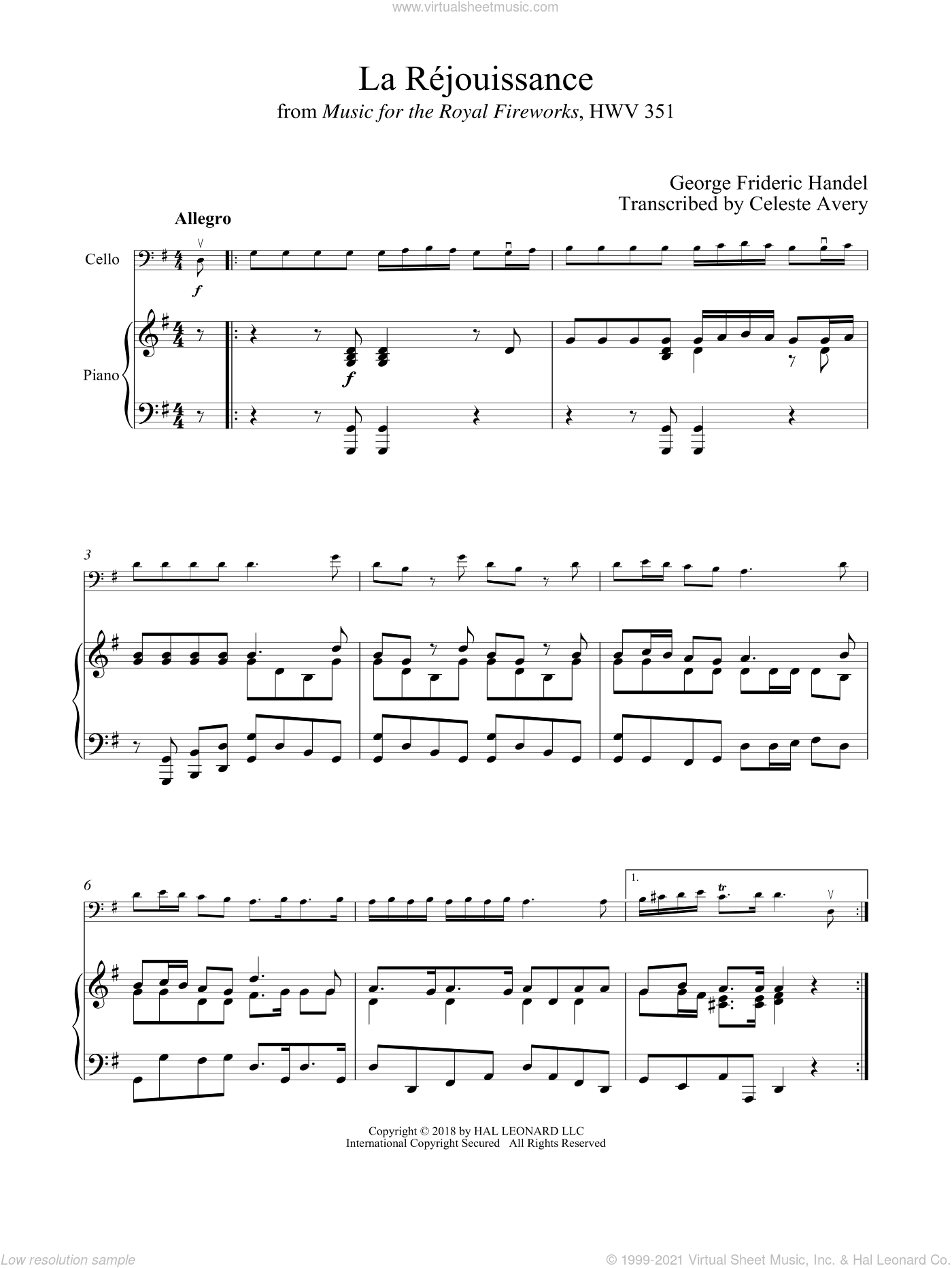 La Rejouissance sheet music for cello and piano by George Frideric Handel, classical score, intermediate skill level