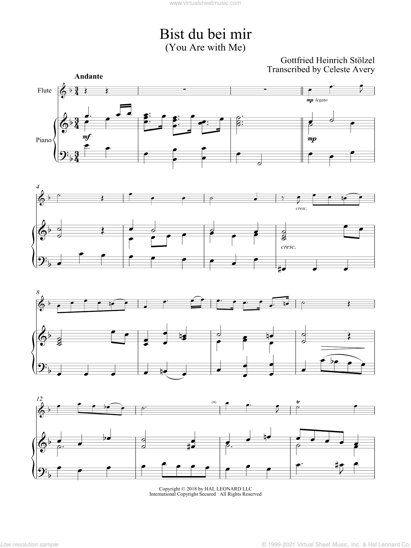 Bist du bei mir (You Are With Me) sheet music for flute and piano by Johann Sebastian Bach, classical wedding score, intermediate skill level