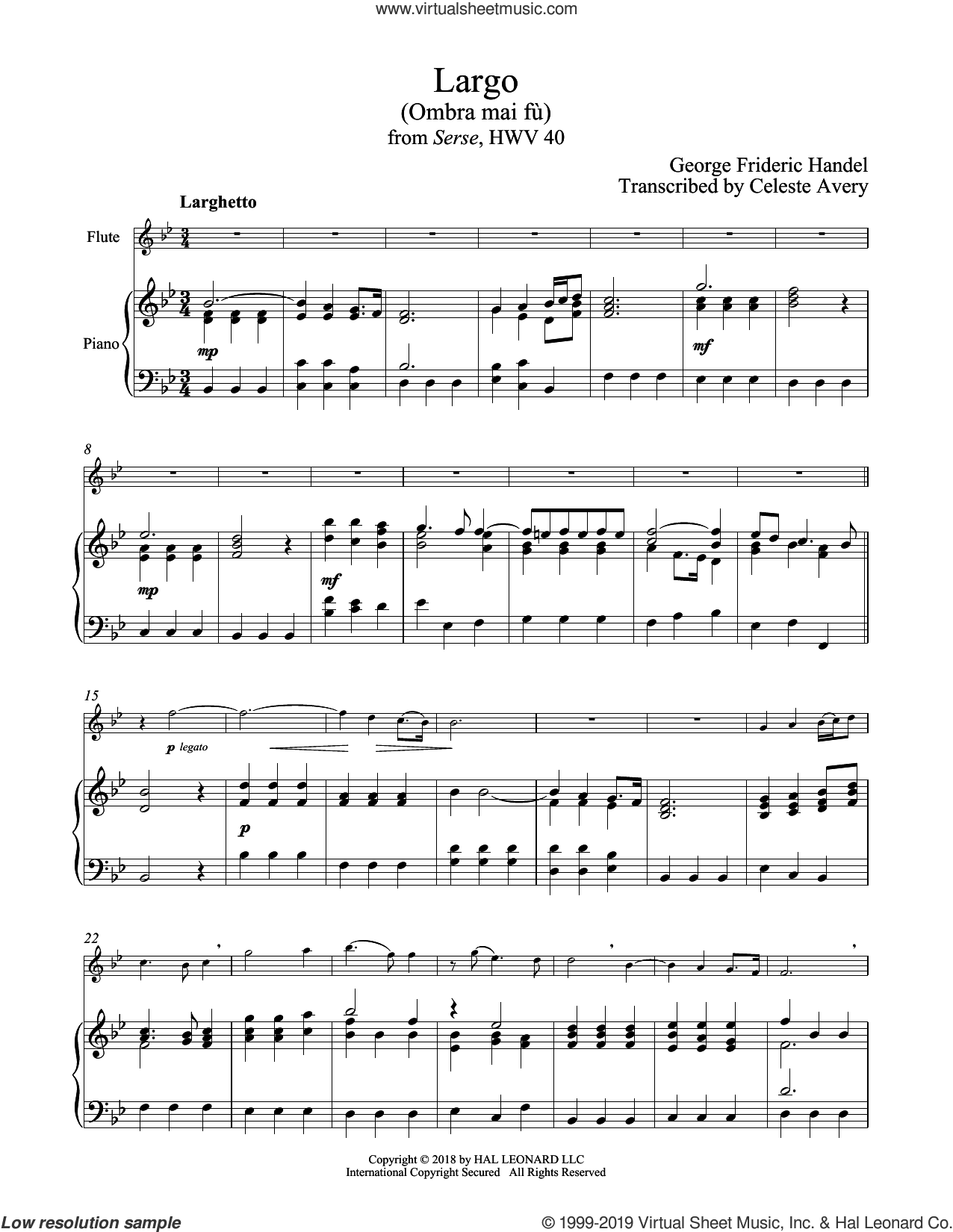 Ombra Mai Fu sheet music for flute and piano by George Frideric Handel, classical score, intermediate skill level