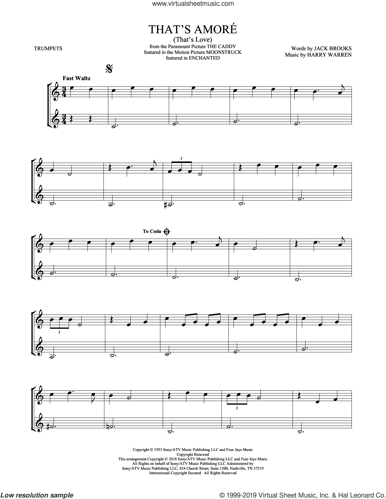 That's Amore (That's Love) sheet music for two trumpets (duet, duets) by Dean Martin, Harry Warren and Jack Brooks, intermediate skill level