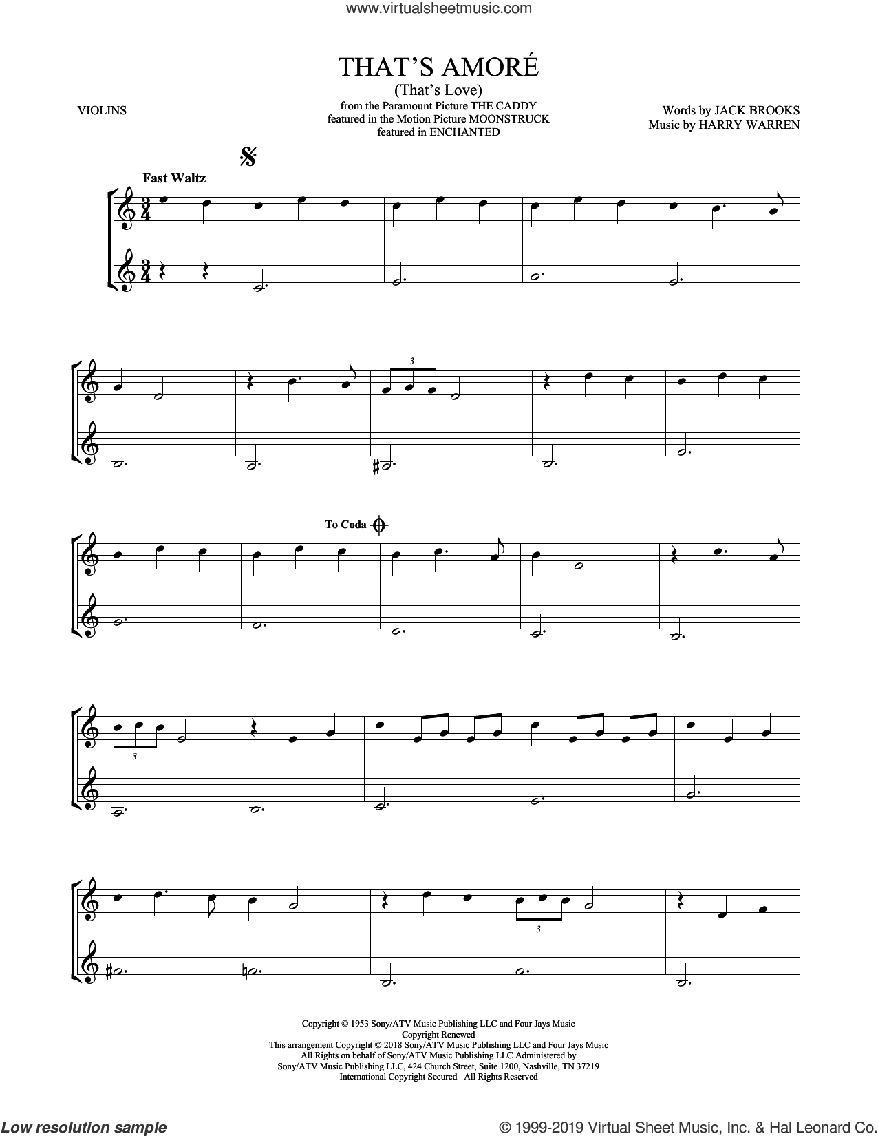 That's Amore (That's Love) sheet music for two violins (duets, violin duets) by Dean Martin, Harry Warren and Jack Brooks, intermediate skill level