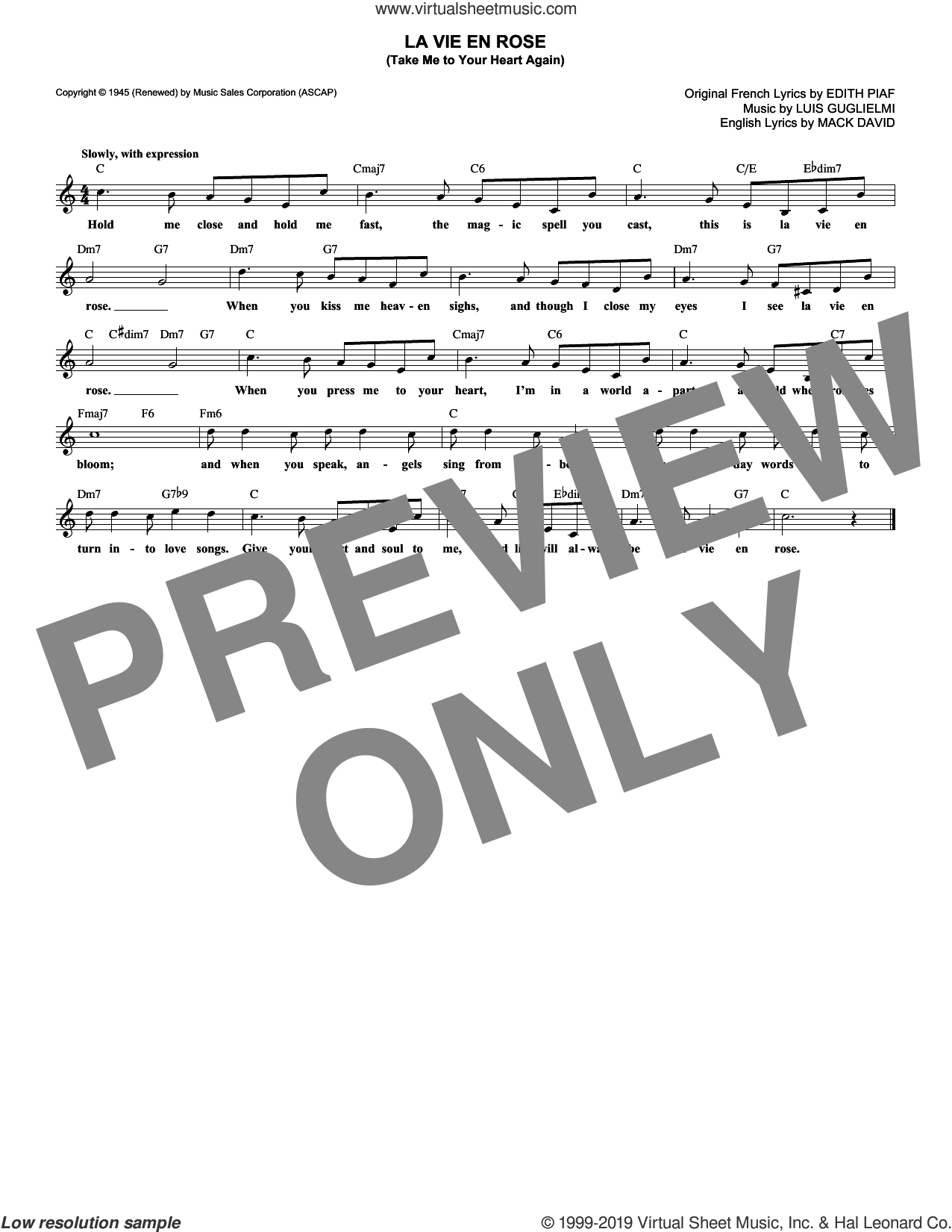 La Vie En Rose (Take Me To Your Heart Again) sheet music for voice and other instruments (fake book) by Mack David, Edith Piaf and Marcel Louiguy, wedding score, intermediate skill level