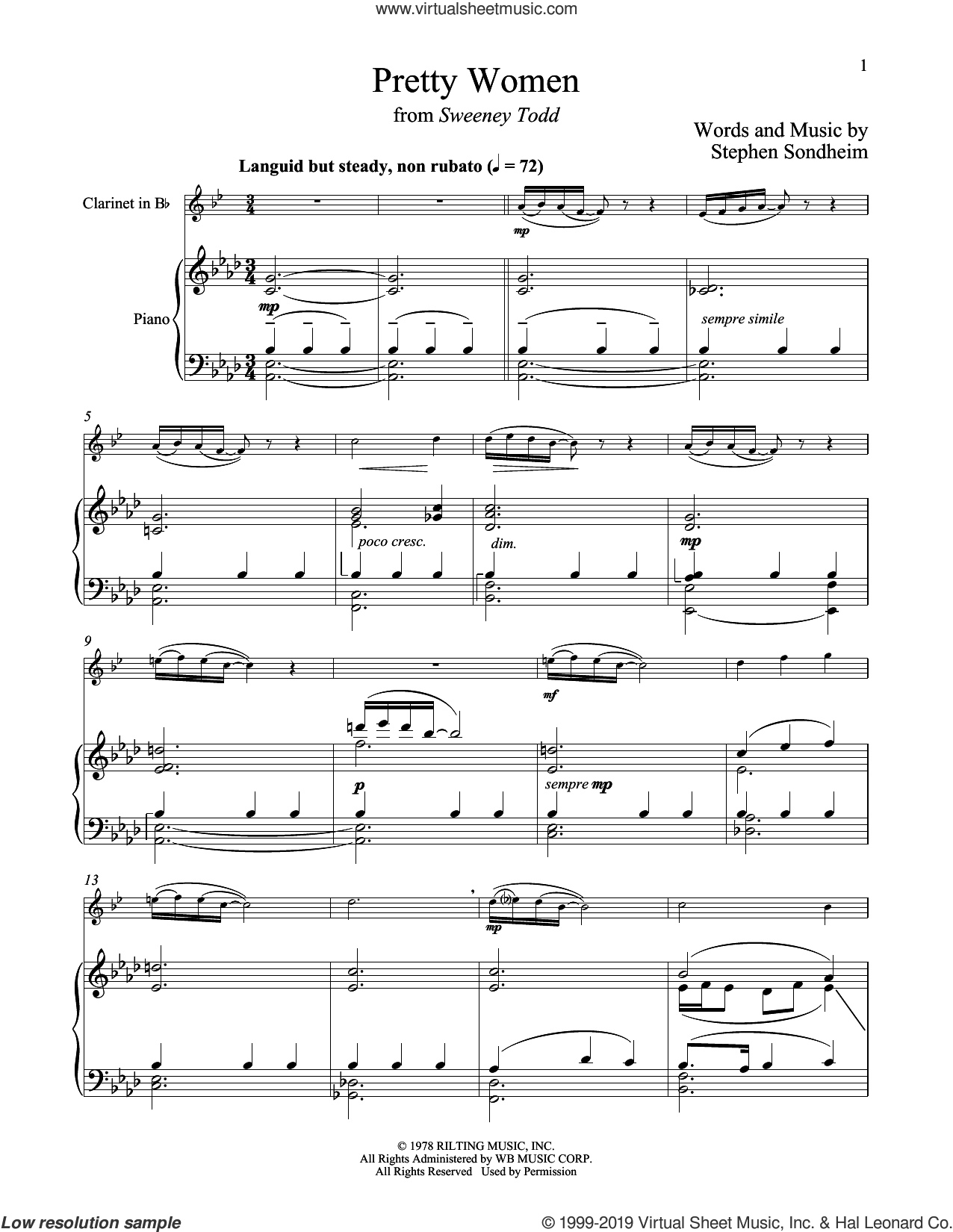 Pretty Women (from Sweeney Todd) sheet music for clarinet and piano by Stephen Sondheim, intermediate skill level