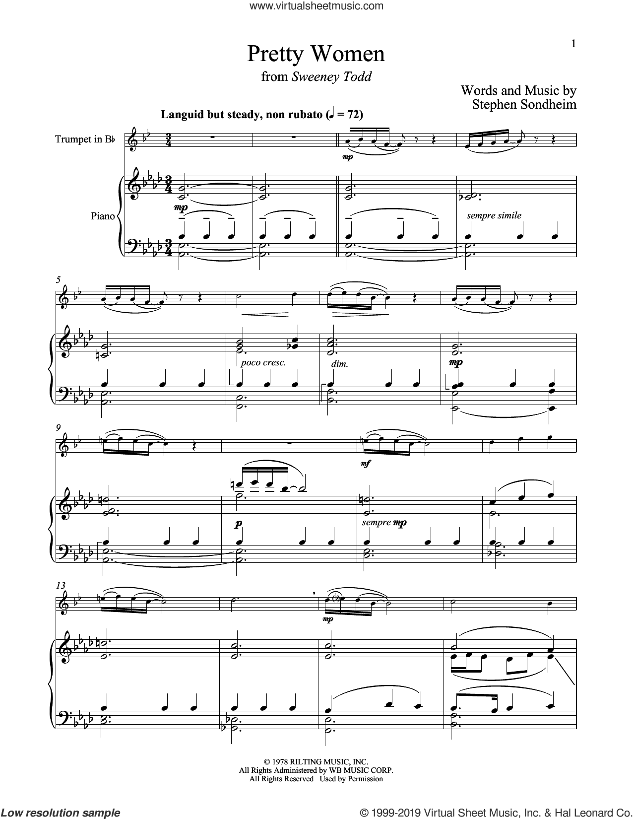 Pretty Women (from Sweeney Todd) sheet music for trumpet and piano by Stephen Sondheim, intermediate skill level