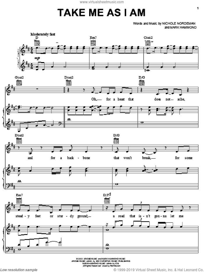 Take Me As I Am sheet music for voice, piano or guitar by Nichole Nordeman and Mark Hammond. Score Image Preview.