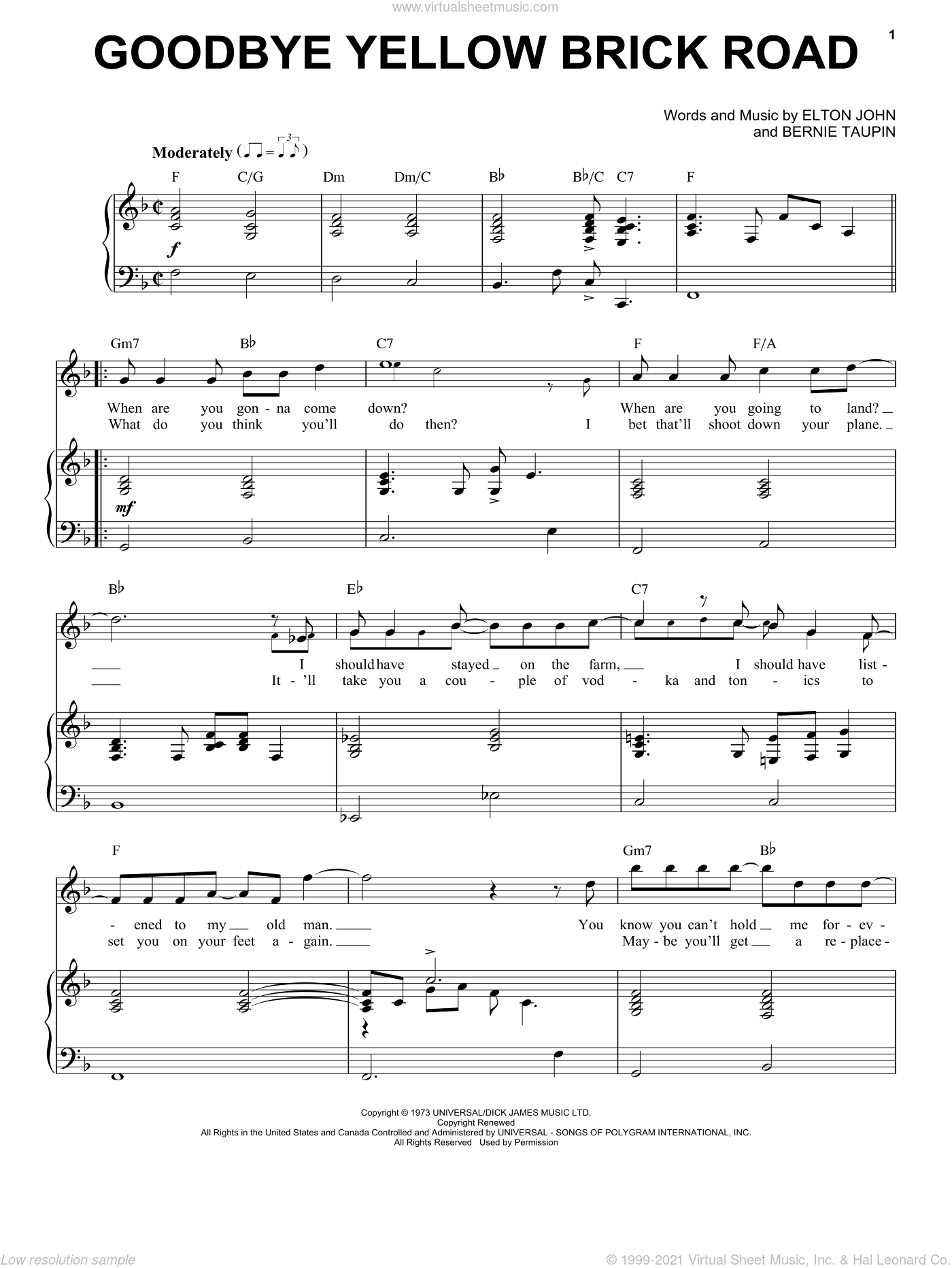 Goodbye Yellow Brick Road sheet music for voice and piano by Elton John and Bernie Taupin, intermediate skill level