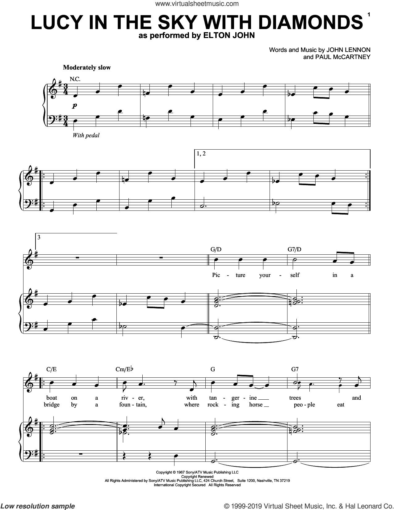 Lucy In The Sky With Diamonds sheet music for voice and piano by Elton John, The Beatles, John Lennon and Paul McCartney, intermediate skill level