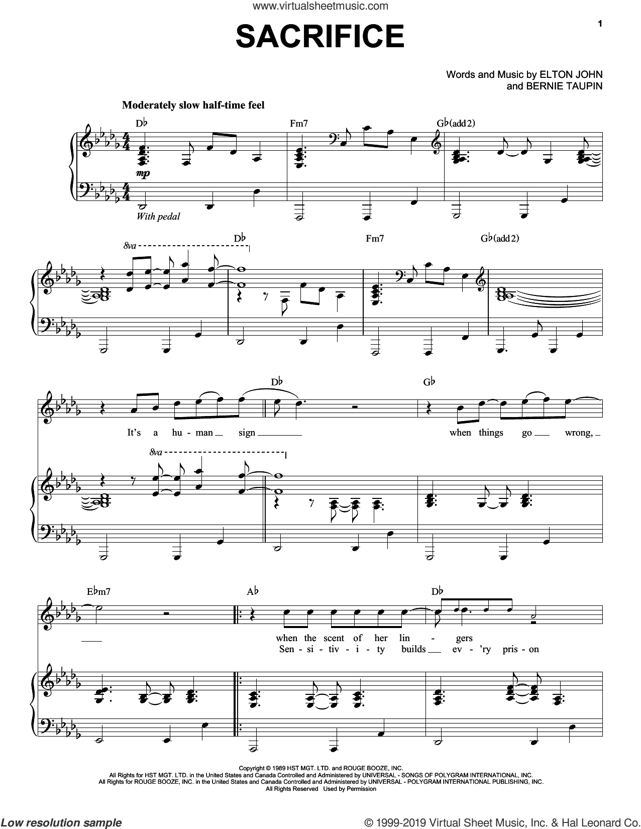 Sacrifice sheet music for voice and piano by Elton John and Bernie Taupin, intermediate skill level