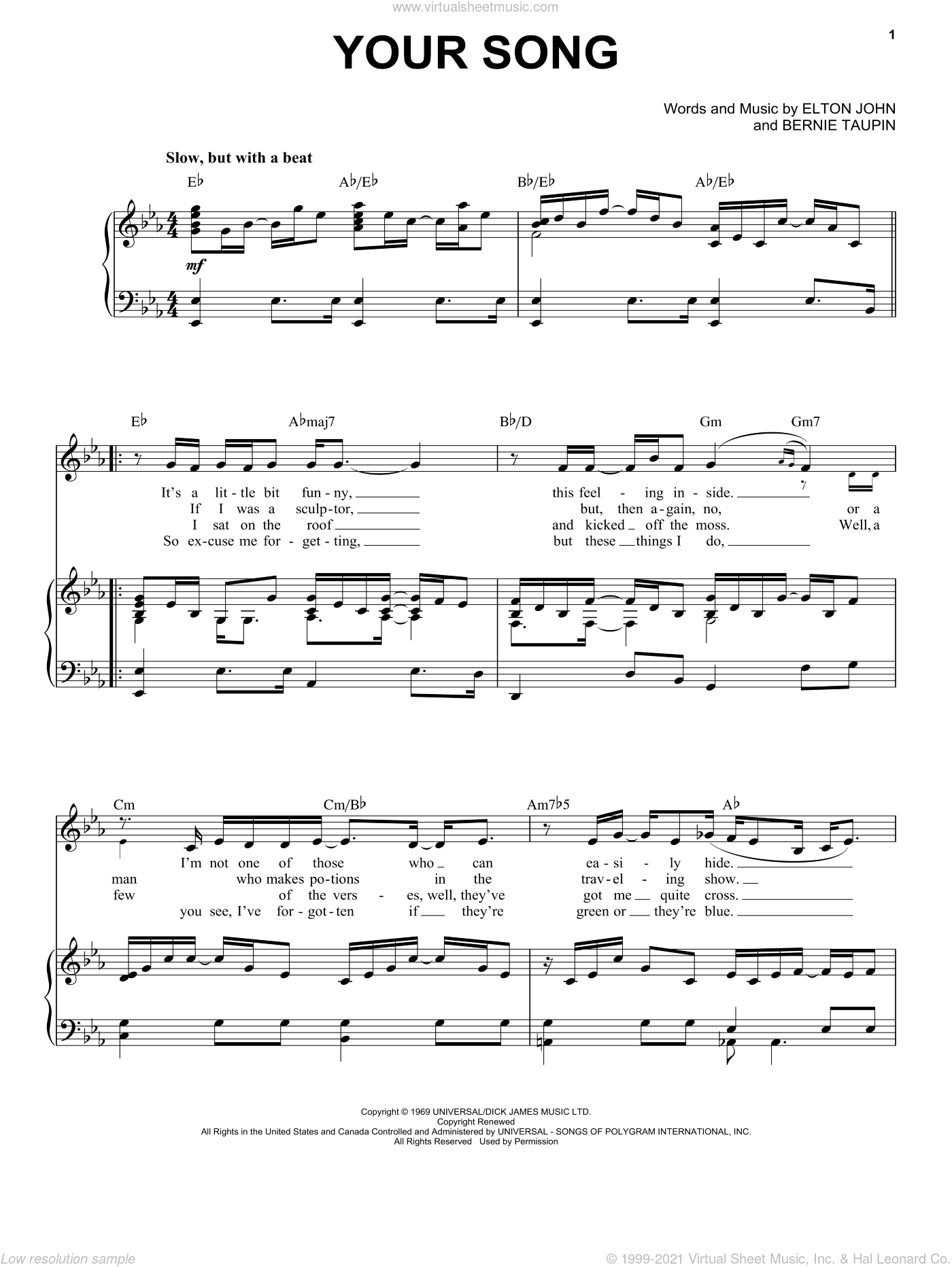 Your Song sheet music for voice and piano by Elton John and Bernie Taupin, intermediate skill level
