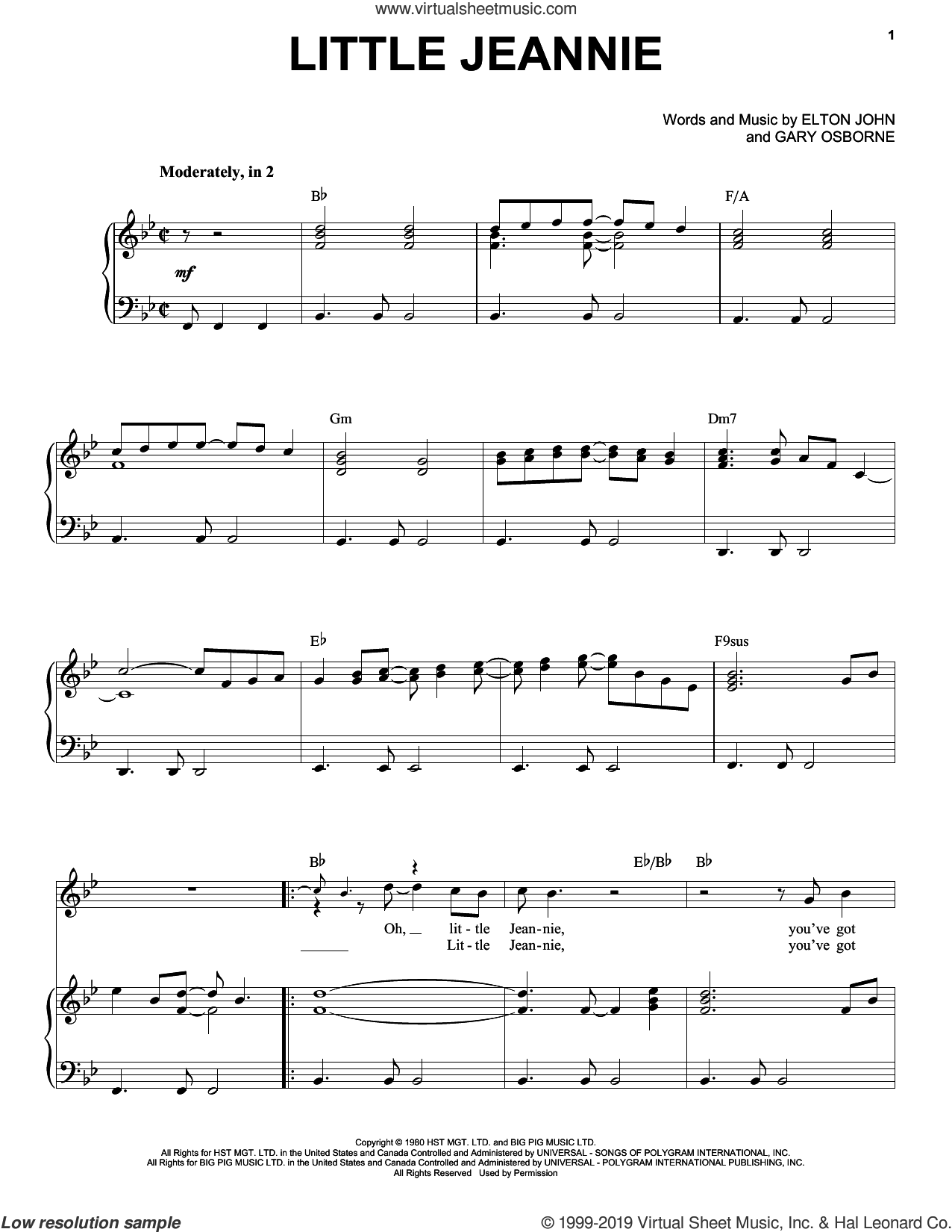 Little Jeannie sheet music for voice and piano by Elton John and Gary Osborne, intermediate skill level