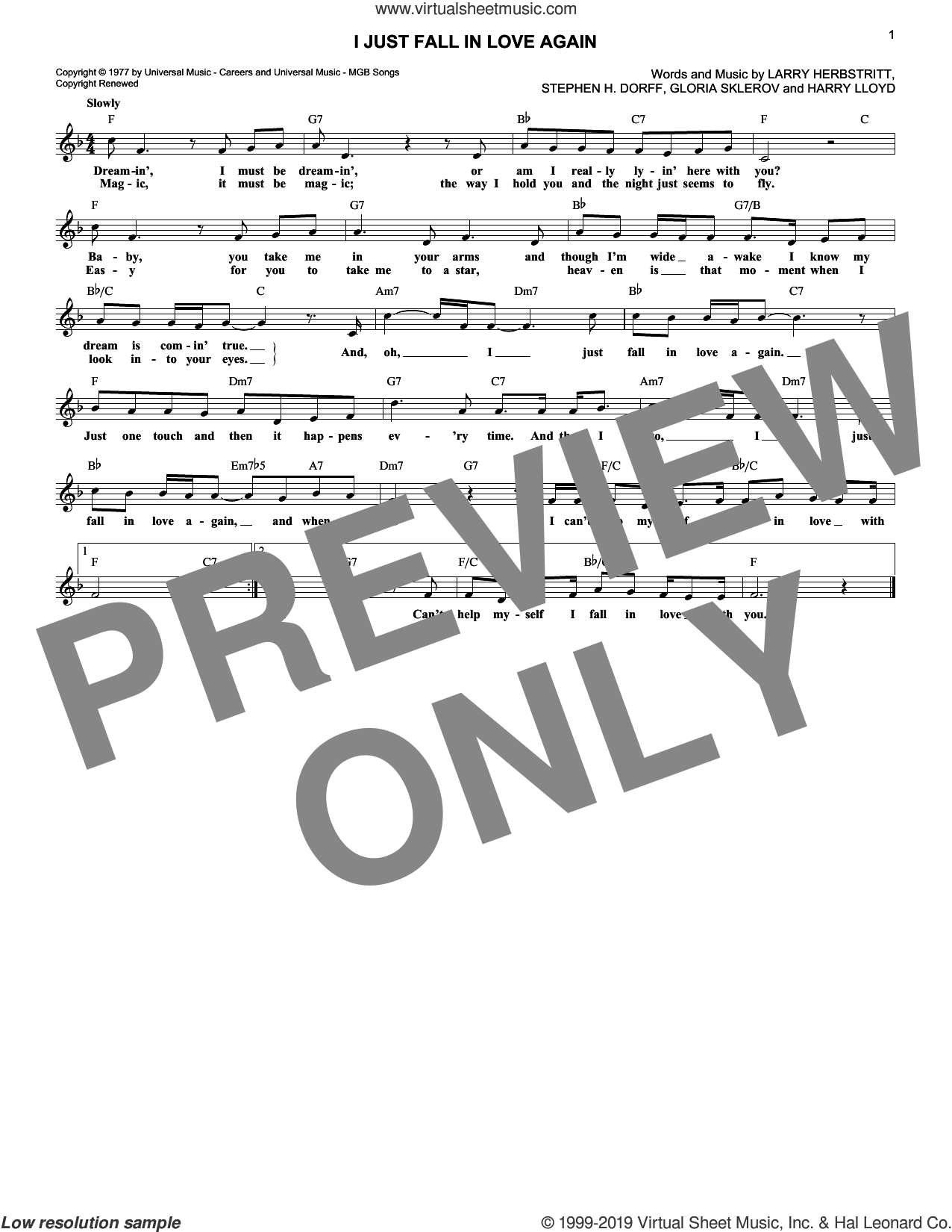 I Just Fall In Love Again sheet music for voice and other instruments (fake book) by Carpenters, Anne Murray, Gloria Sklerov, Harry Lloyd, Larry Herbstritt and Steve Dorff, intermediate skill level