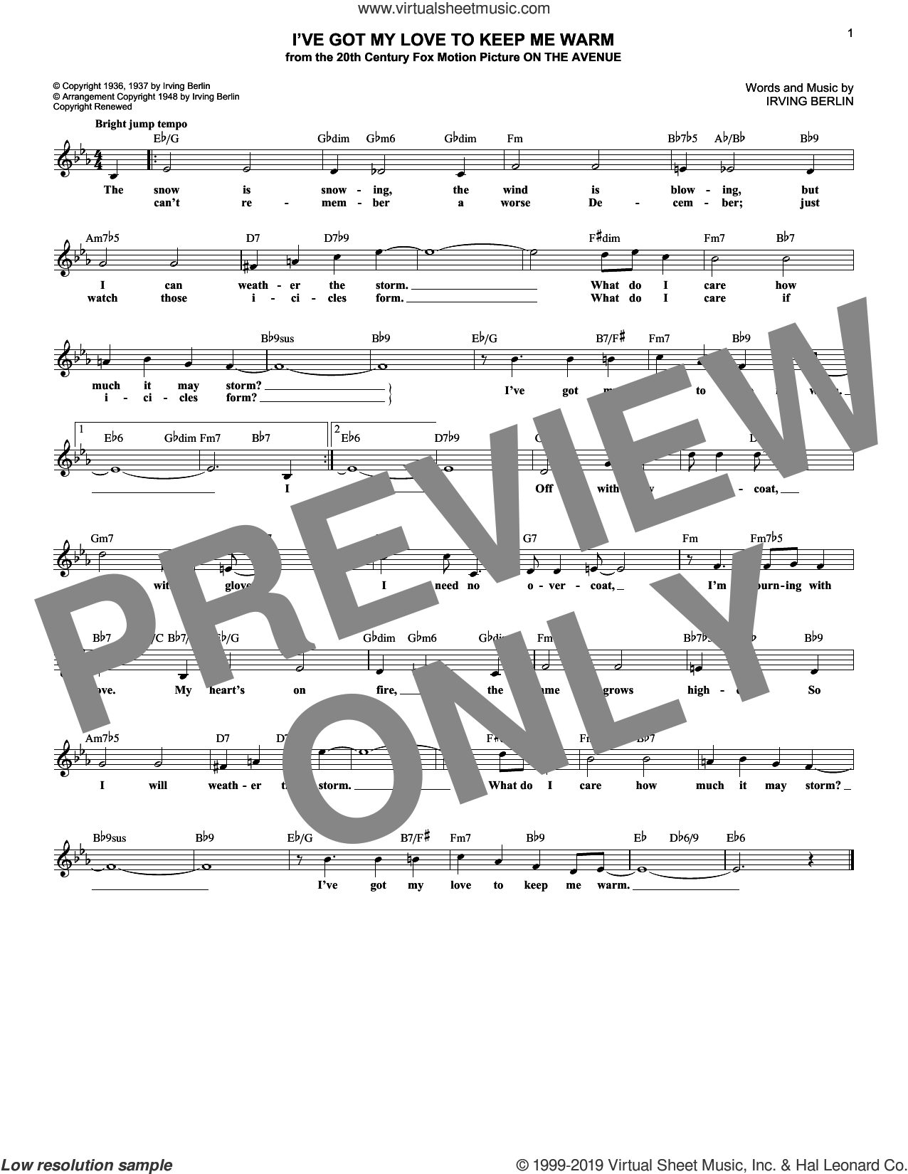 I've Got My Love To Keep Me Warm sheet music for voice and other instruments (fake book) by Irving Berlin and Benny Goodman, wedding score, intermediate skill level