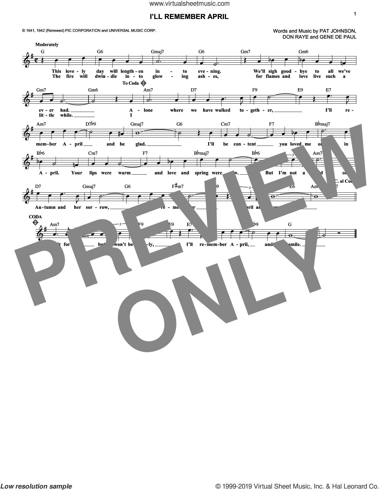 I'll Remember April sheet music for voice and other instruments (fake book) by Woody Herman & His Orchestra, Don Raye, Gene DePaul and Pat Johnston, wedding score, intermediate skill level