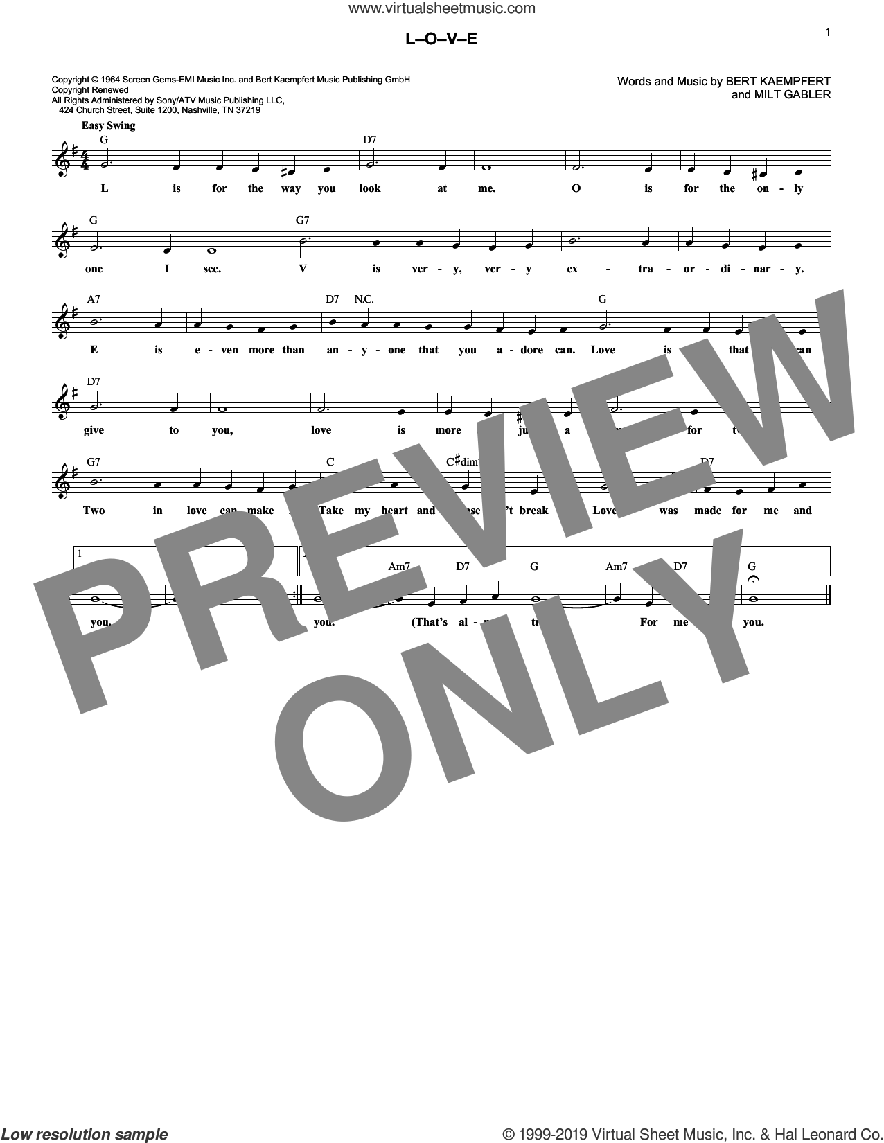 L-O-V-E sheet music for voice and other instruments (fake book) by Natalie Cole, Nat King Cole, Bert Kaempfert and Milt Gabler, wedding score, intermediate skill level