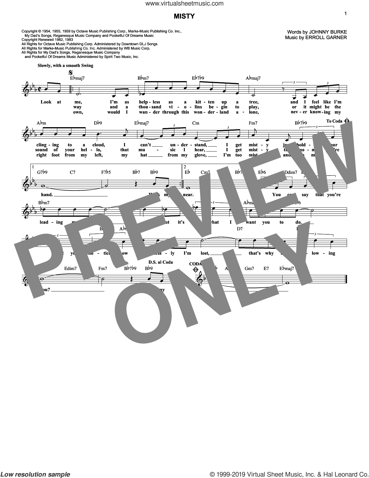 Misty sheet music for voice and other instruments (fake book) by Johnny Mathis, Erroll Garner and John Burke, wedding score, intermediate skill level