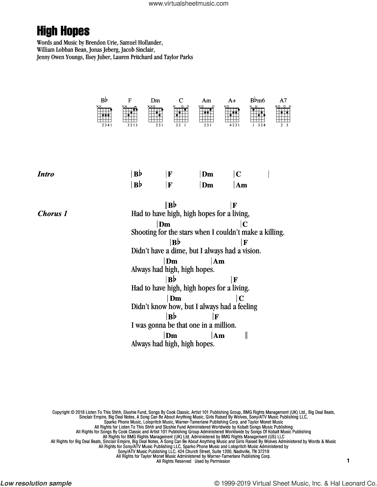 High Hopes sheet music for guitar (chords) by Panic! At The Disco, Brendon Urie, Ilsey Juber, Jacob Sinclair, Jenny Owen Youngs, Jonas Jeberg, Lauren Pritchard, Sam Hollander, Taylor Parks and William Lobban Bean, intermediate skill level