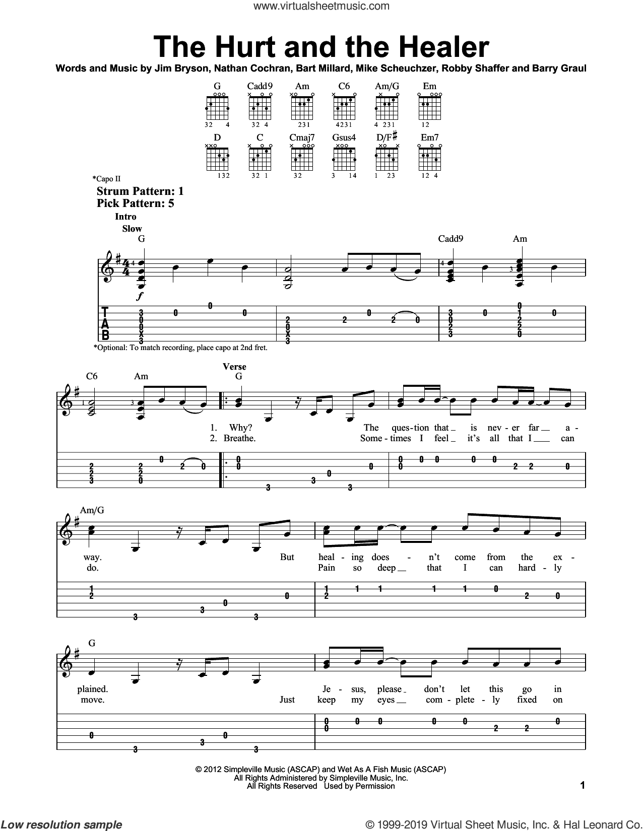 The Hurt And The Healer sheet music for guitar solo (easy tablature) by MercyMe, Barry Graul, Bart Millard, Jim Bryson, Mike Scheuchzer, Nathan Cochran and Robby Shaffer, easy guitar (easy tablature)