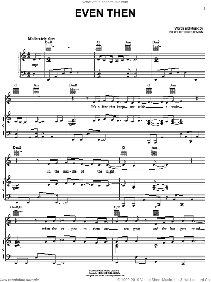 Even Then sheet music for voice, piano or guitar by Nichole Nordeman. Score Image Preview.