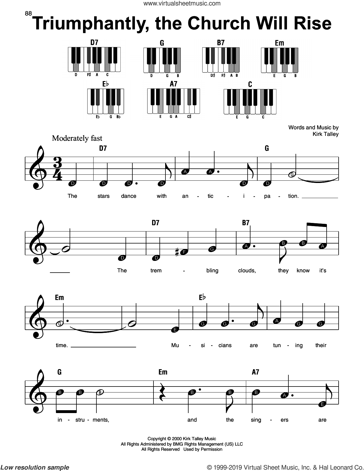 Triumphantly, The Church Will Rise sheet music for piano solo by Kirk Talley, beginner skill level
