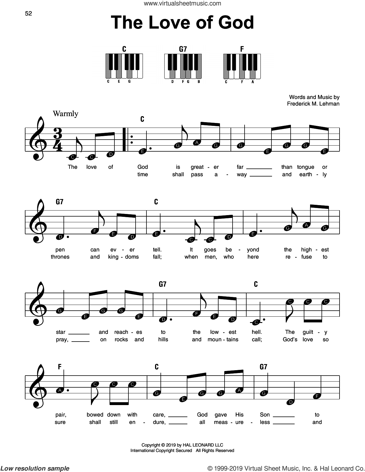 The Love Of God sheet music for piano solo by Frederick M. Lehman, beginner skill level