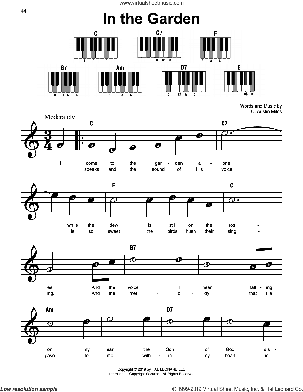 In The Garden sheet music for piano solo by C. Austin Miles, beginner skill level