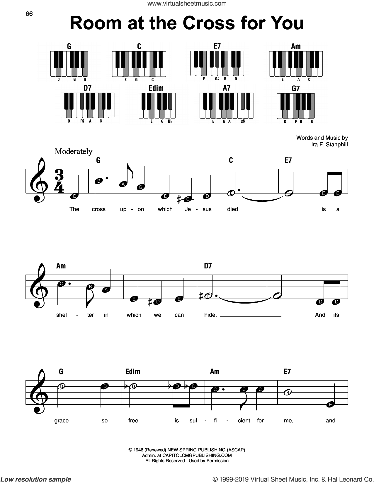 Room At The Cross For You sheet music for piano solo by Ira F. Stanphill, beginner skill level