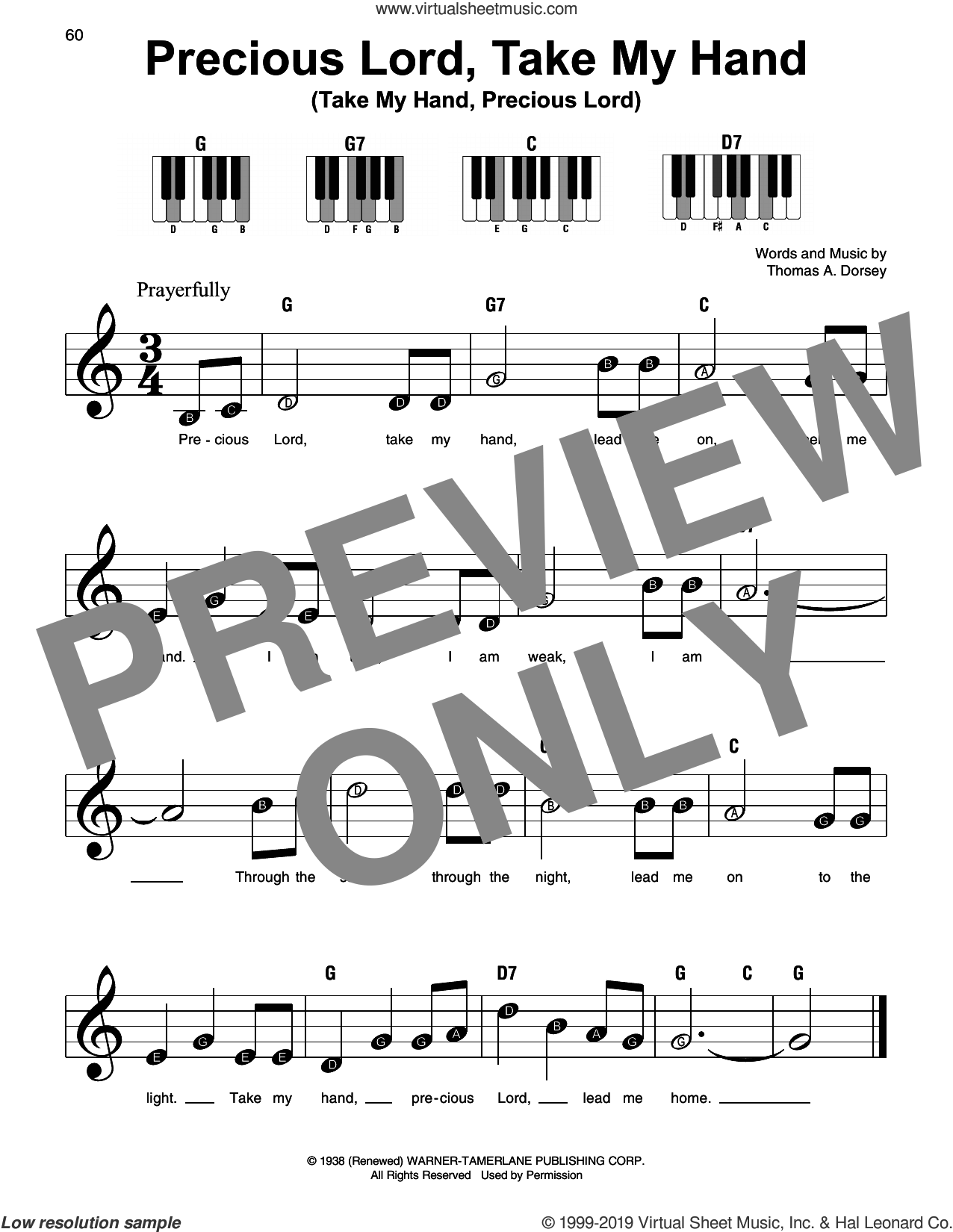 Precious Lord, Take My Hand (Take My Hand, Precious Lord), (beginner) sheet music for piano solo by Tommy Dorsey, beginner skill level