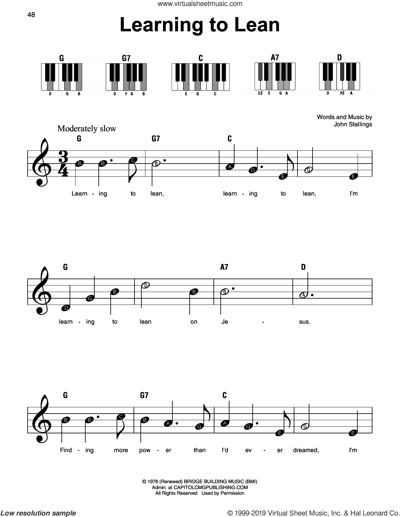Learning To Lean sheet music for piano solo by John Stallings, beginner skill level