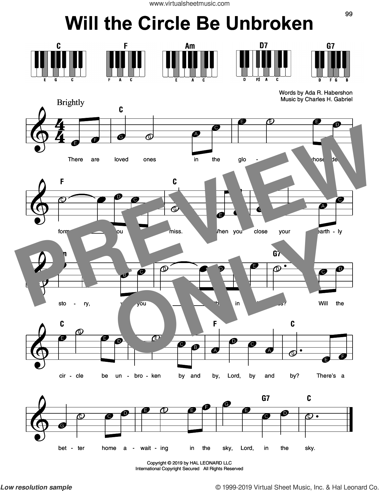 Will The Circle Be Unbroken sheet music for piano solo by Ada R. Habershon and Charles H. Gabriel, beginner skill level