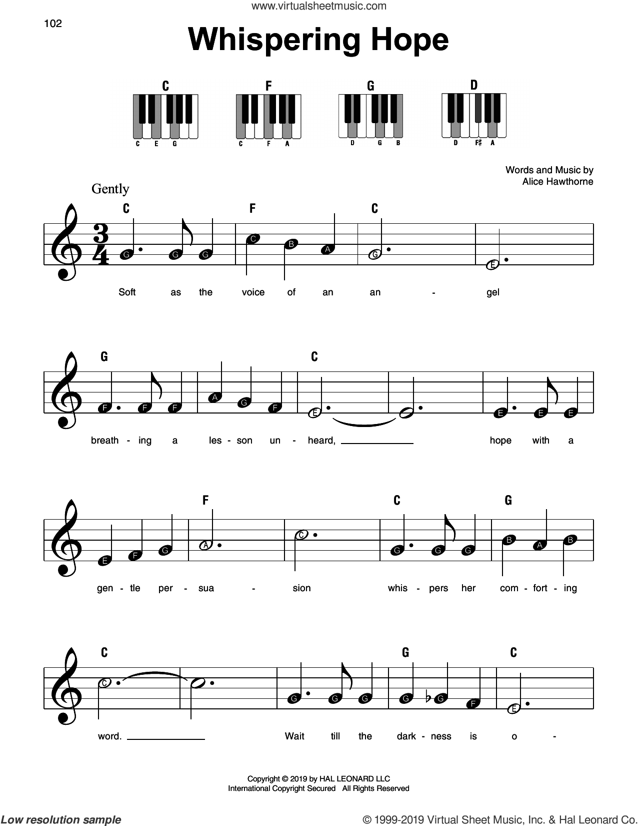 Whispering Hope sheet music for piano solo by Alice Hawthorne, beginner skill level