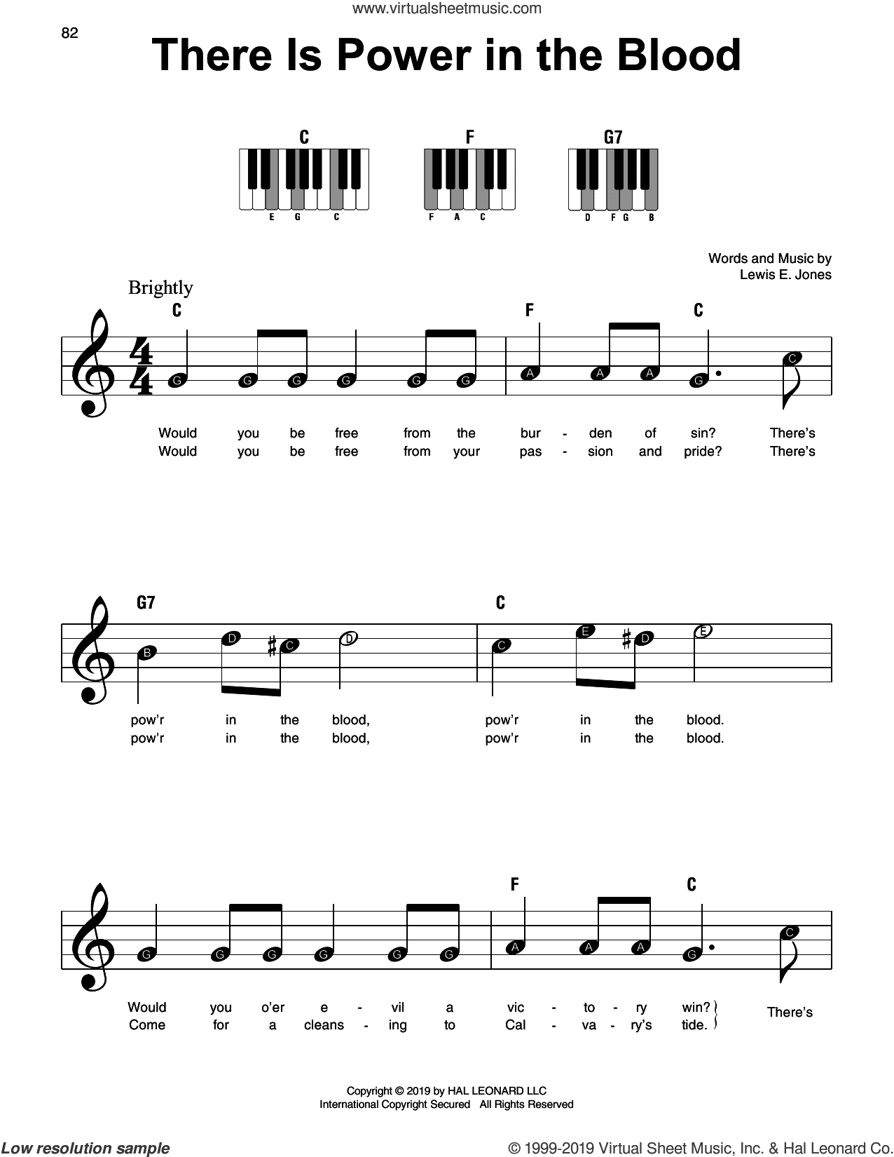There Is Power In The Blood sheet music for piano solo by Lewis E. Jones, beginner skill level