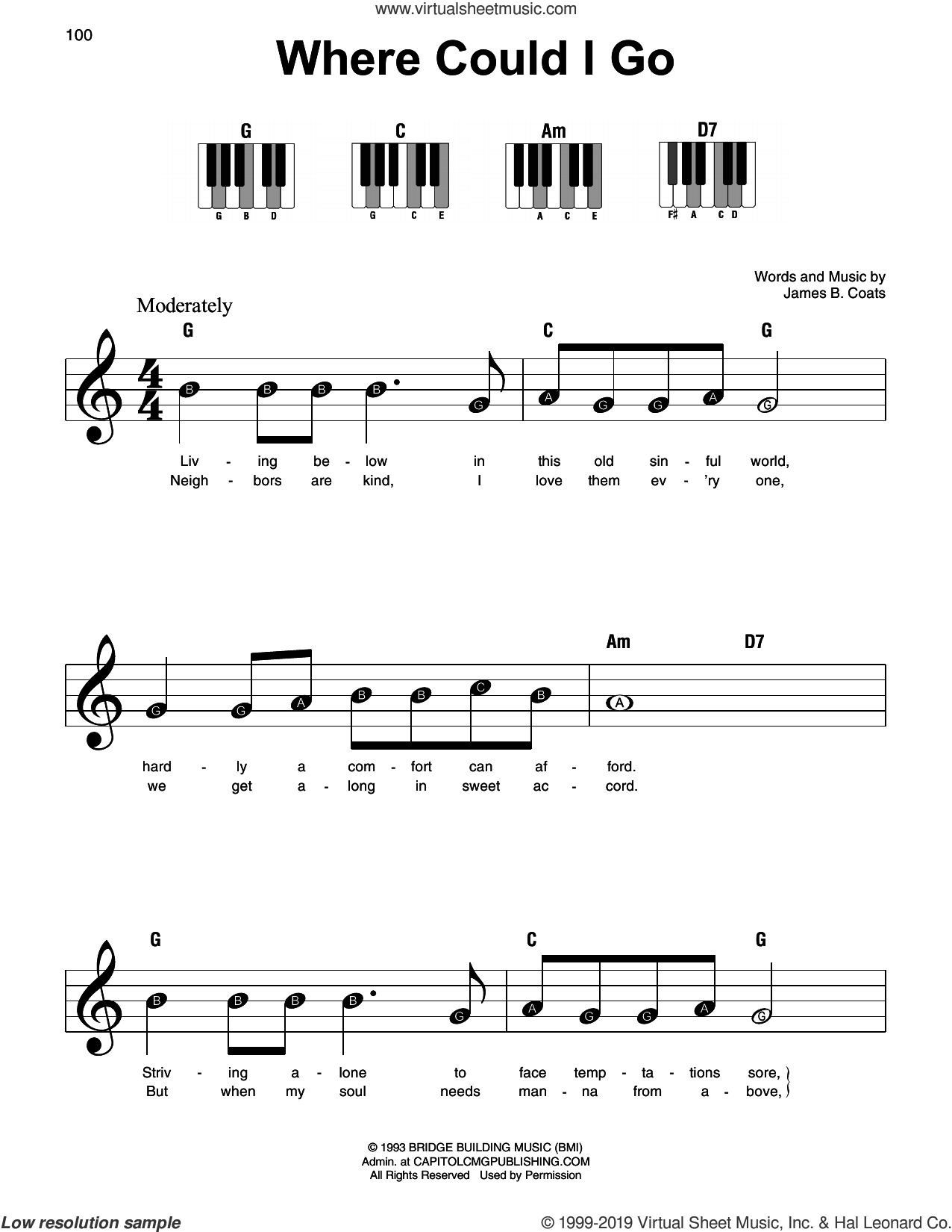 Where Could I Go sheet music for piano solo by Elvis Presley and James B. Coats, beginner skill level